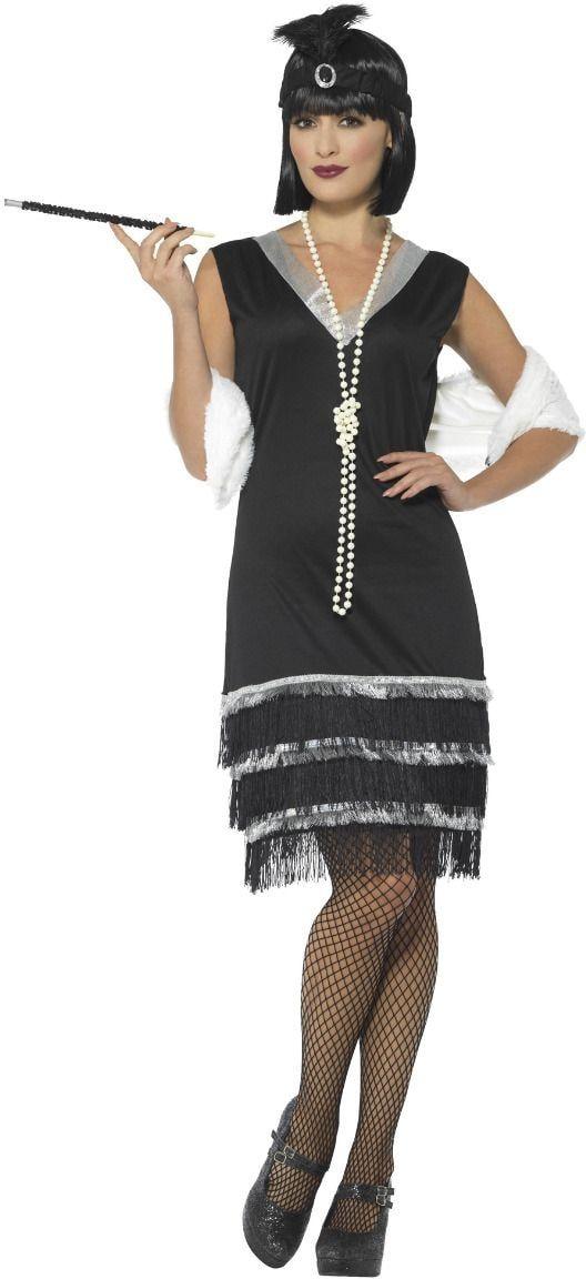 Flapper kostuum dames zwart wit