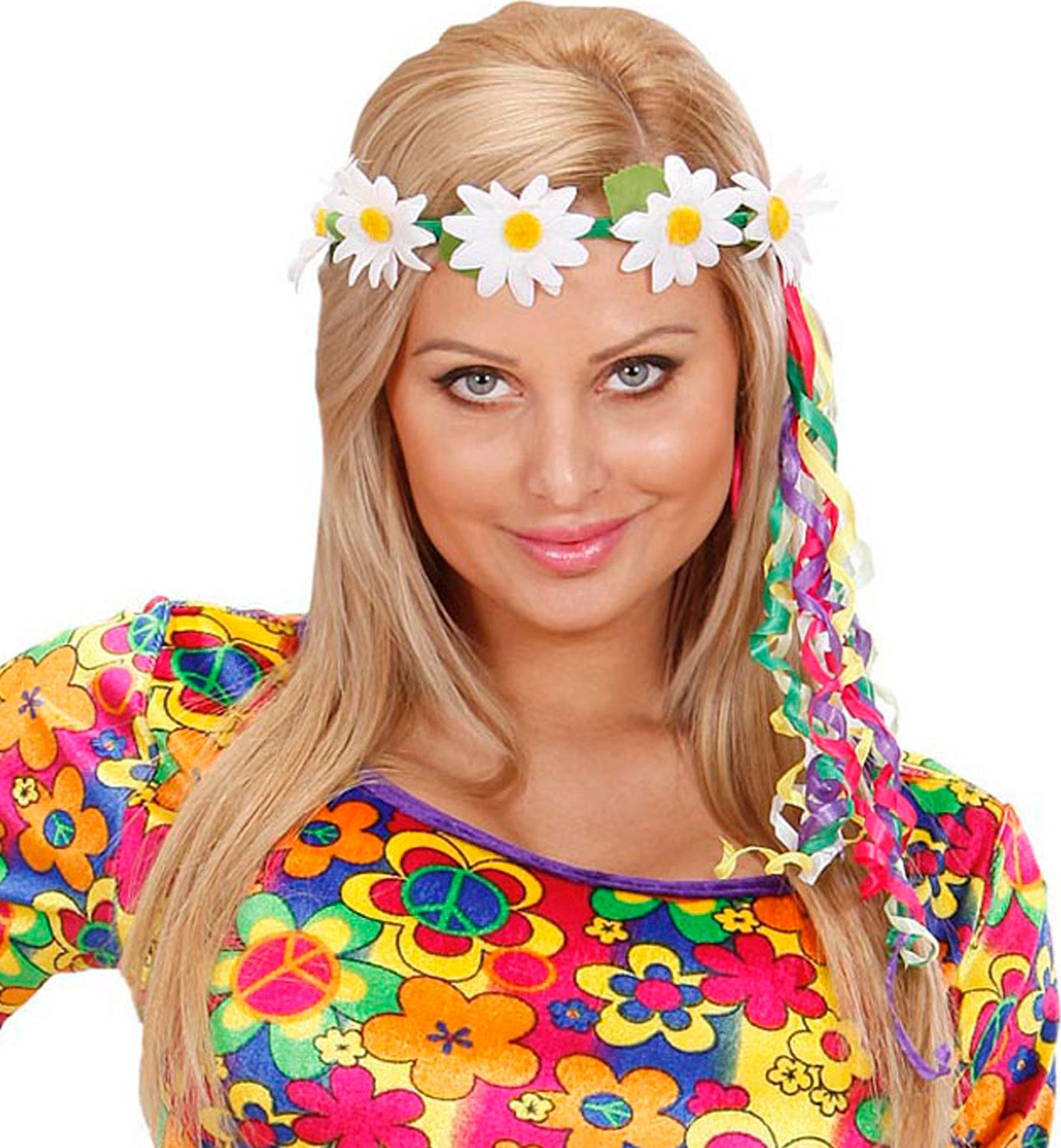 Flower power hoofdband met lintjes