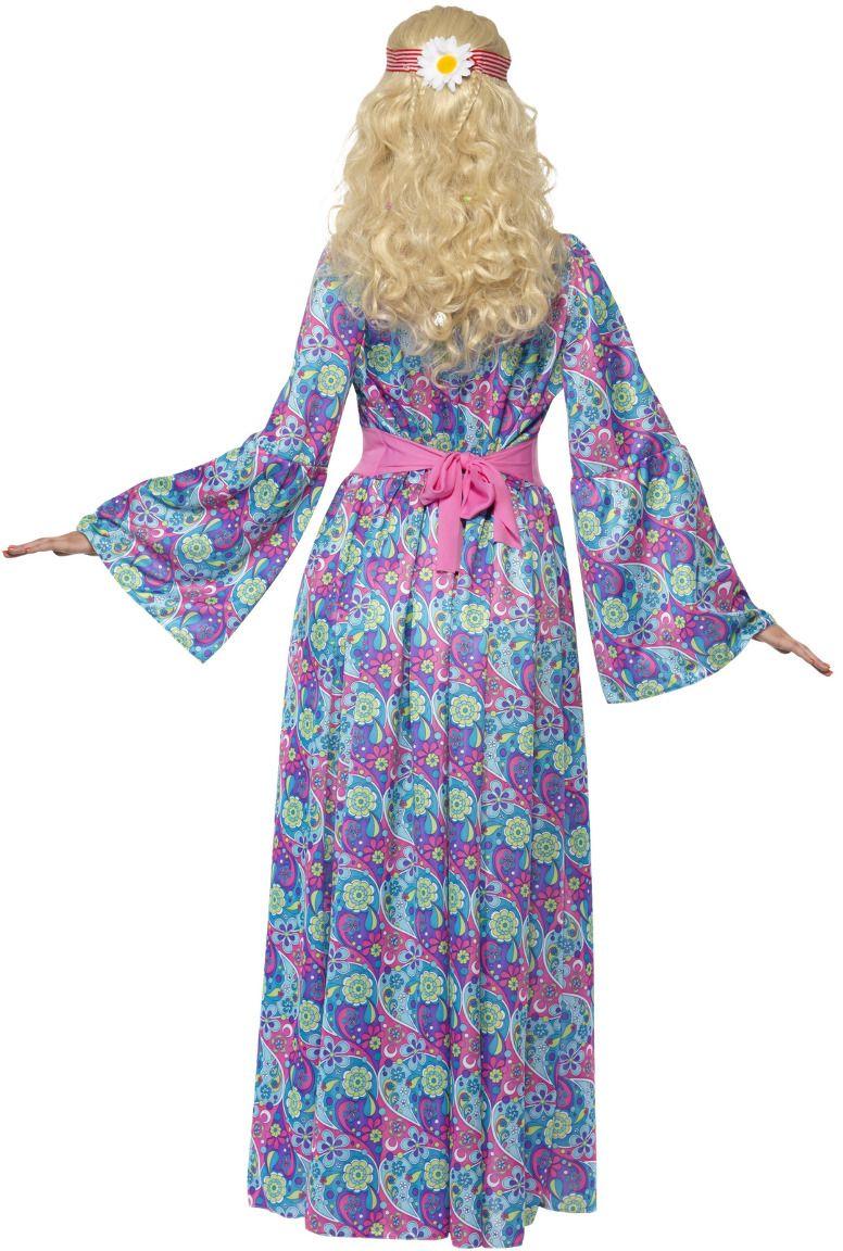 Flower power lange jurk paars