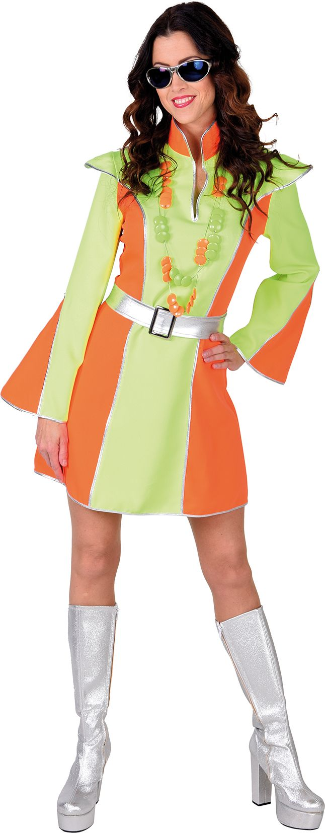 Fluor oranje groene disco jurk dames