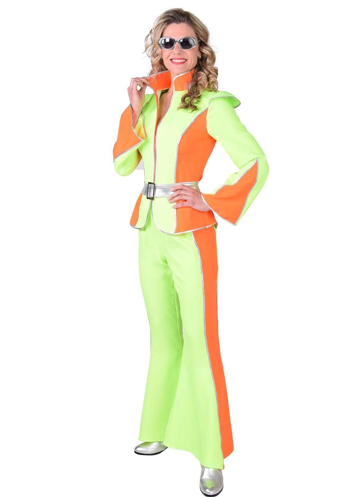 Fluor oranje groene disco outfit dames