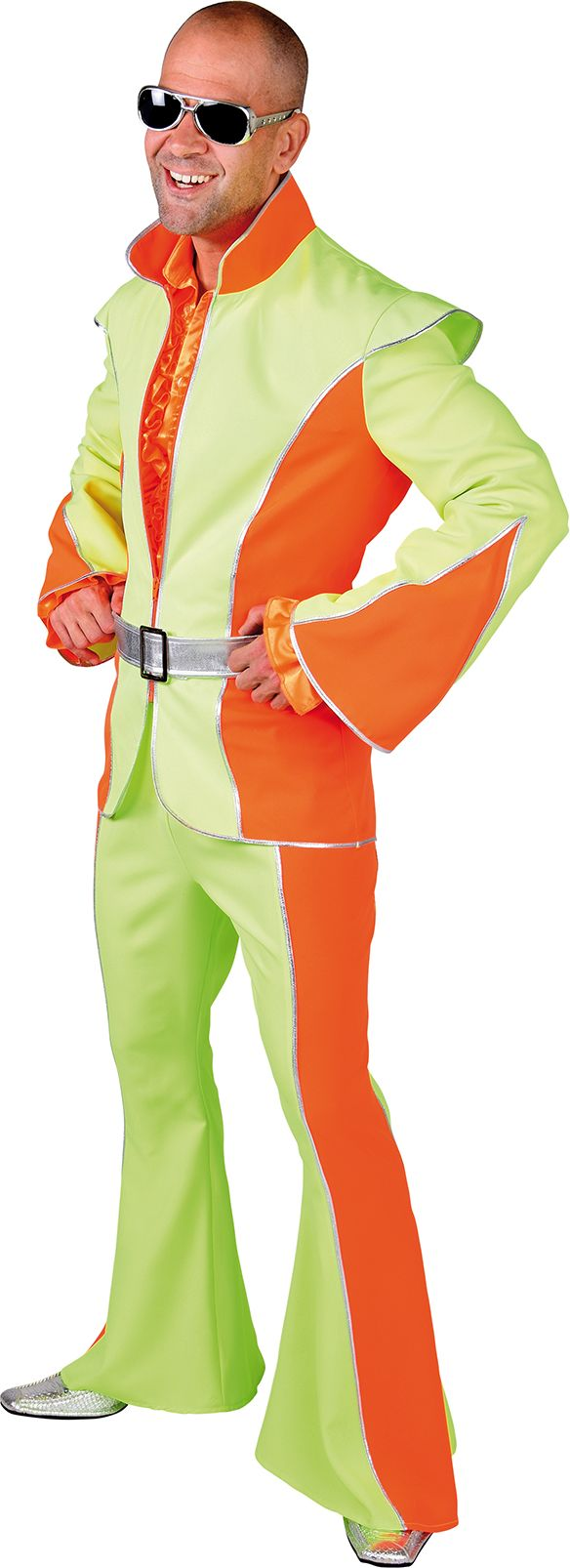 Fluor oranje groene disco outfit man