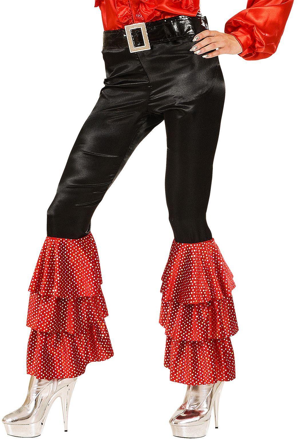 Fluwelen zwarte broek met 2 kleuren