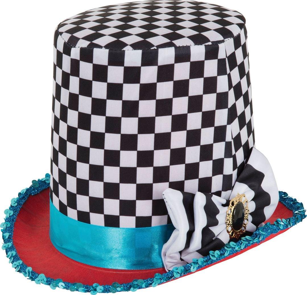 Geblokte Mad Hatter hoed