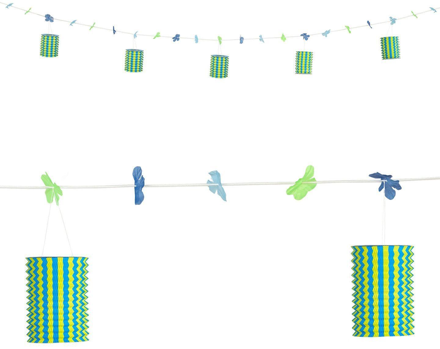 Geel-blauwe lantaarn slinger