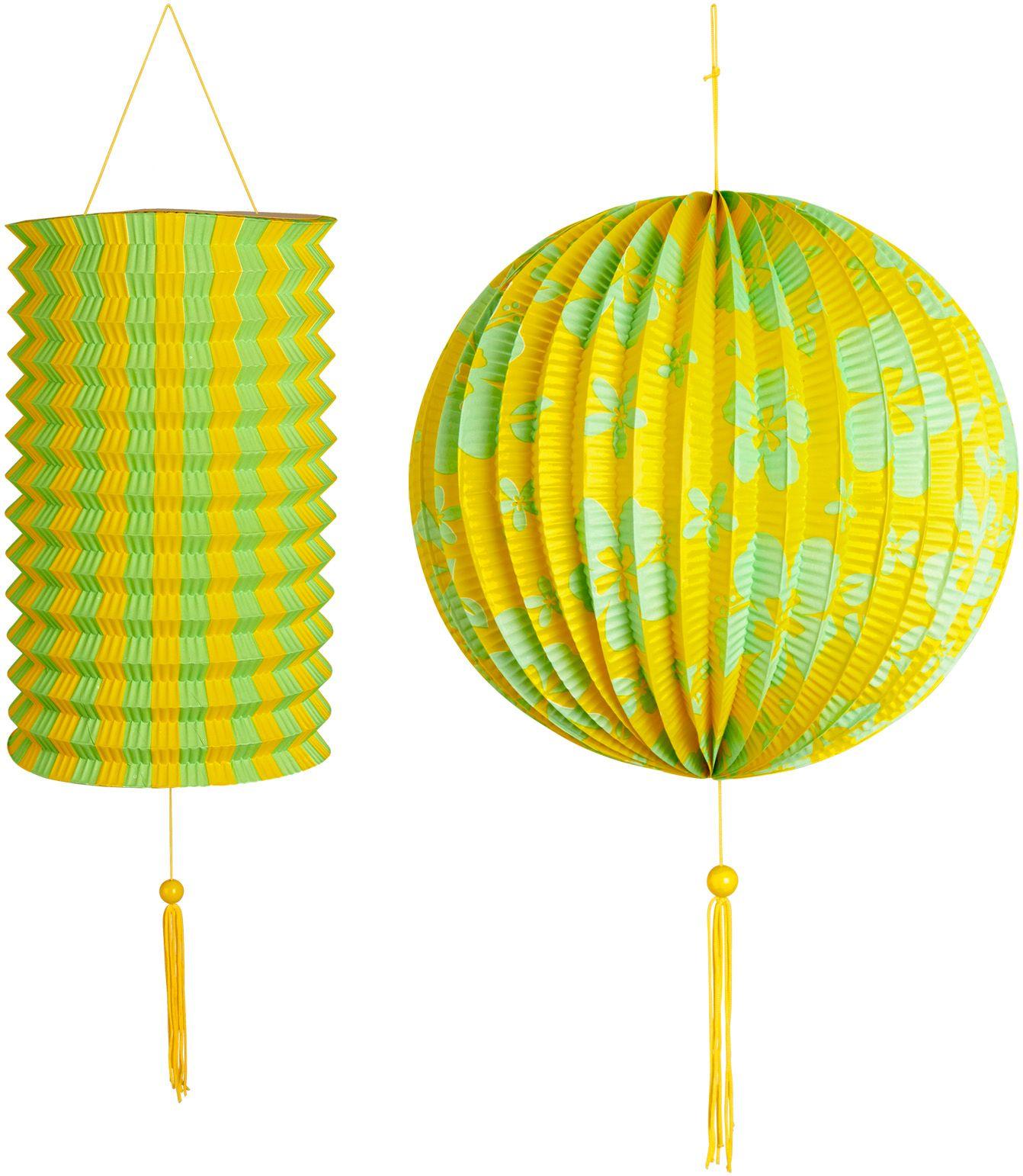 Geel groene papieren bal met lantaarn