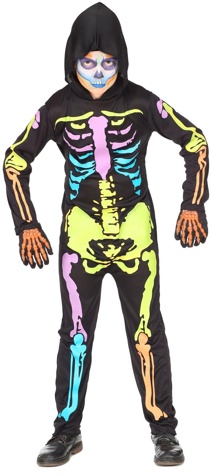 Gekleurd skelet kostuum kind
