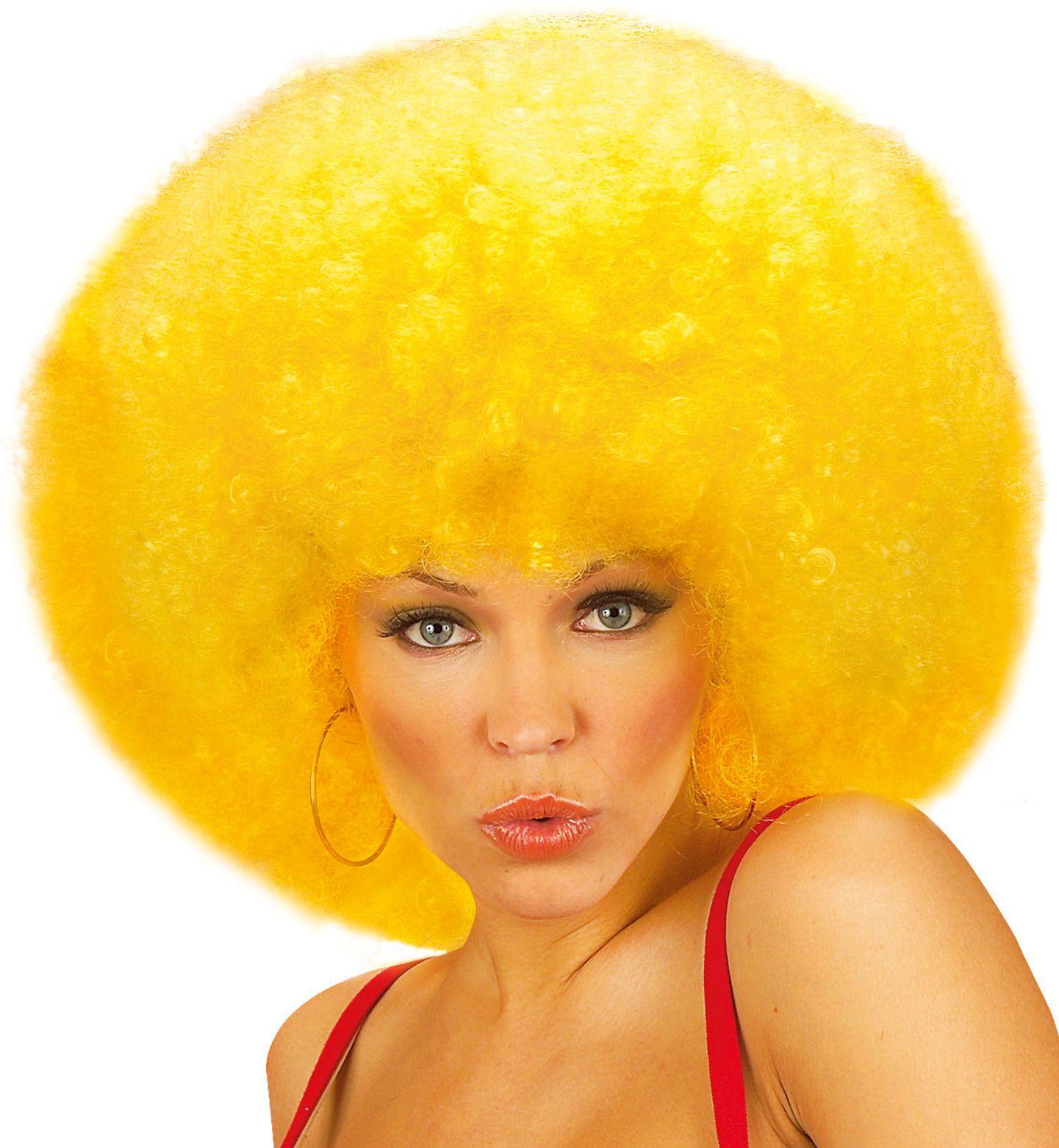 Gele afro pruik met krullen