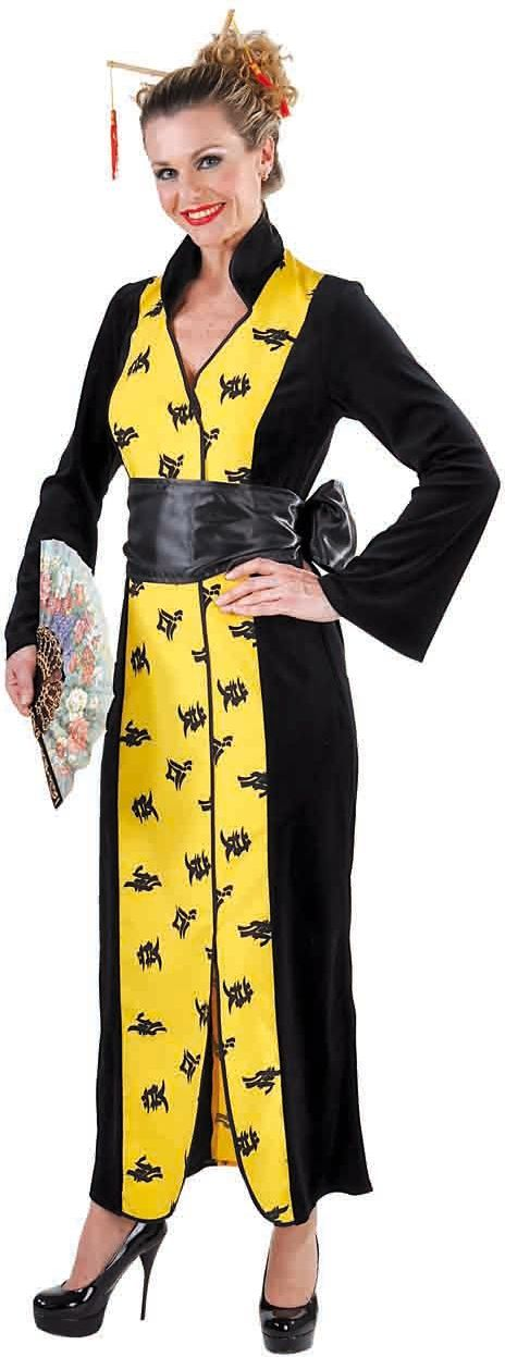 Gele Chinese kimono vrouwen
