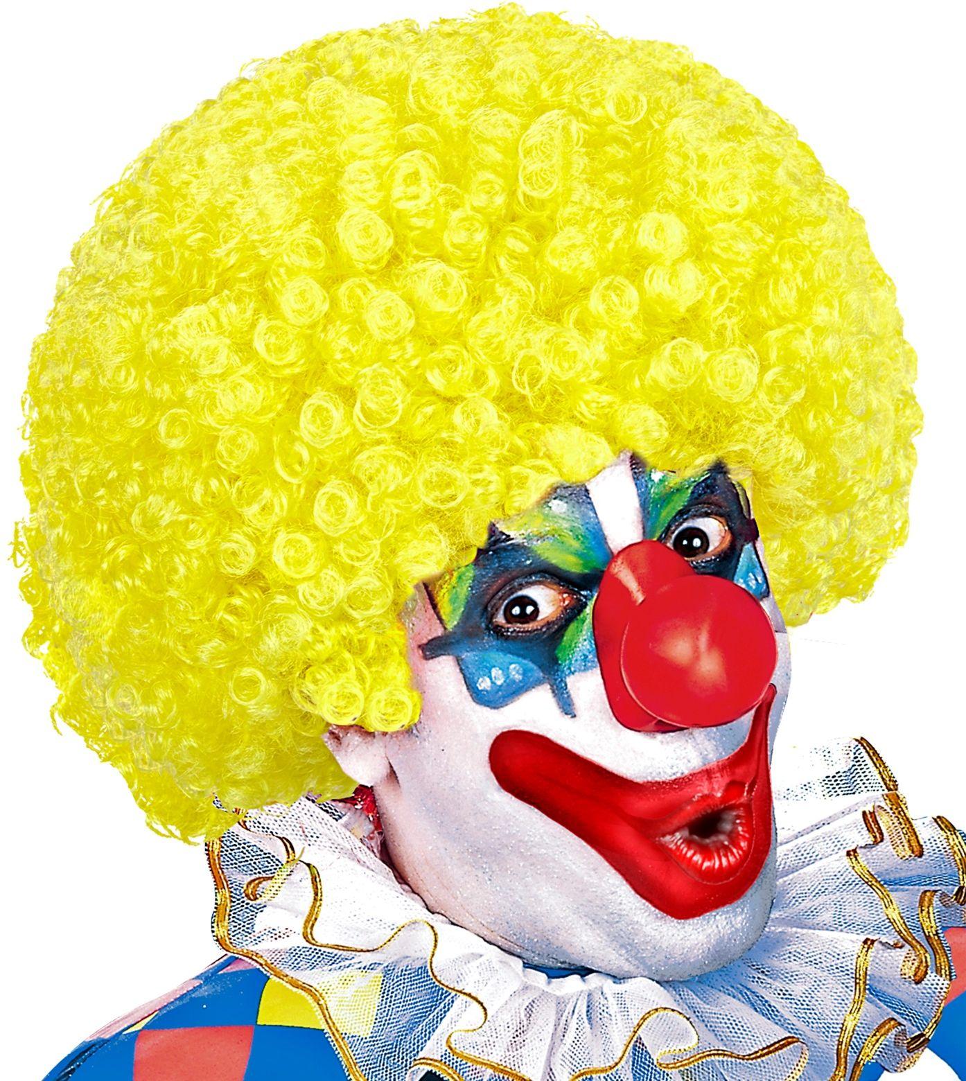 Gele clowns pruik