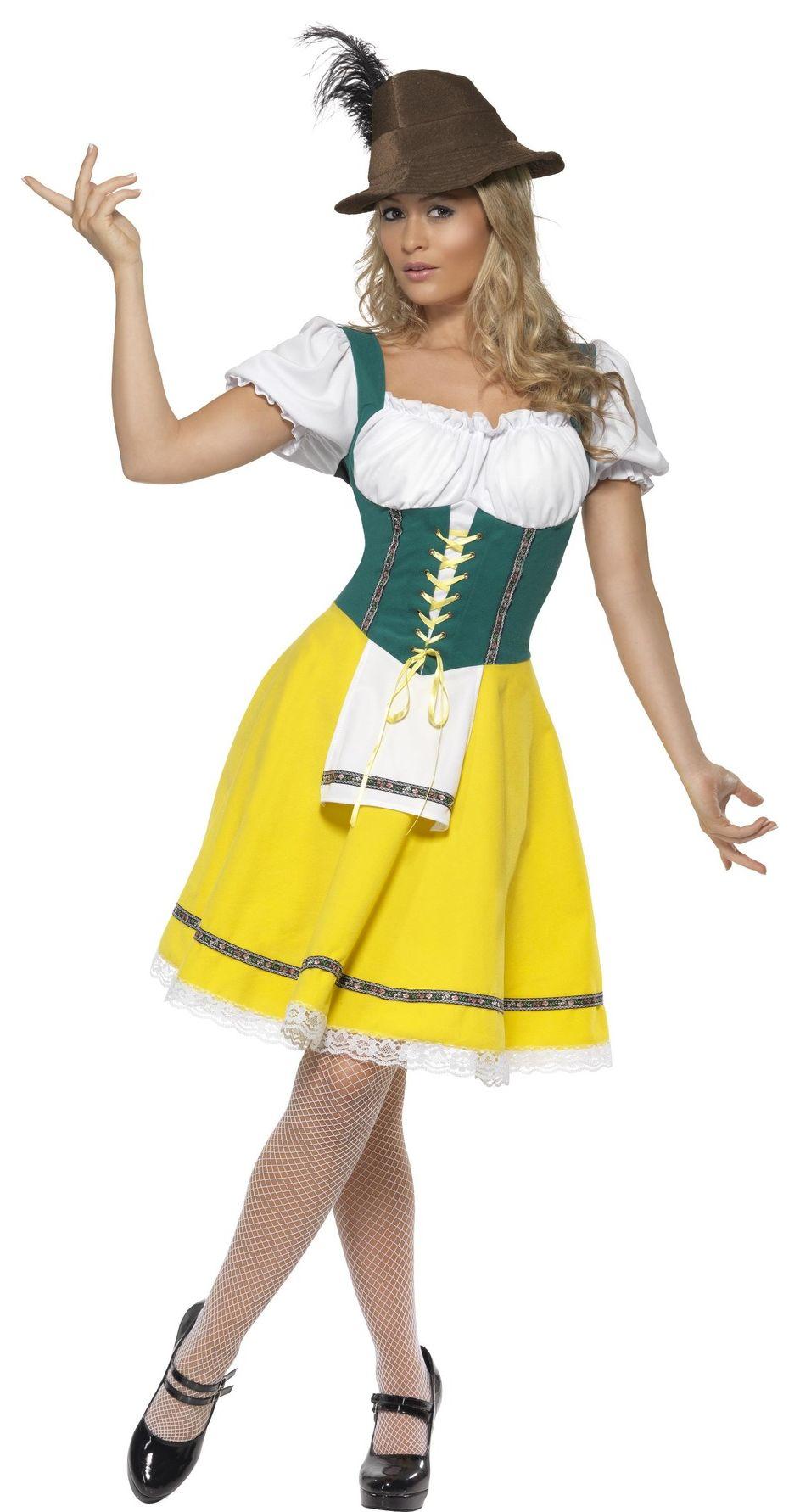 Gele dirndl jurk