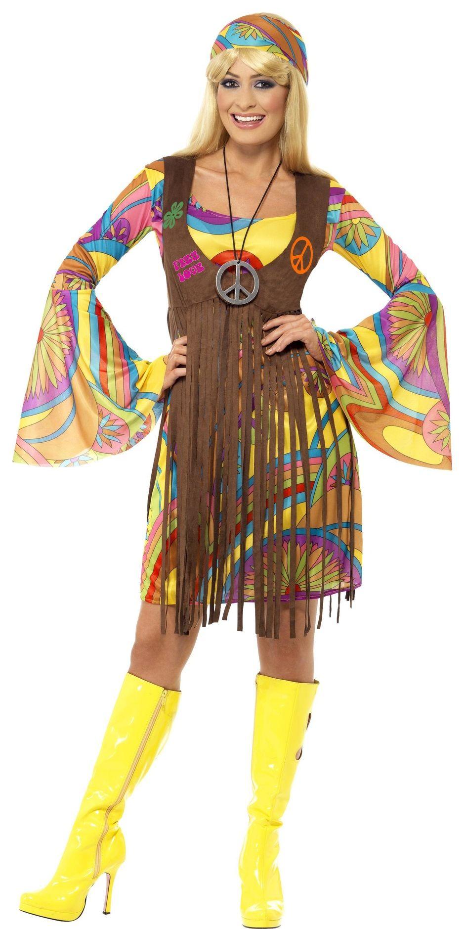 Gele hippie jurk dames