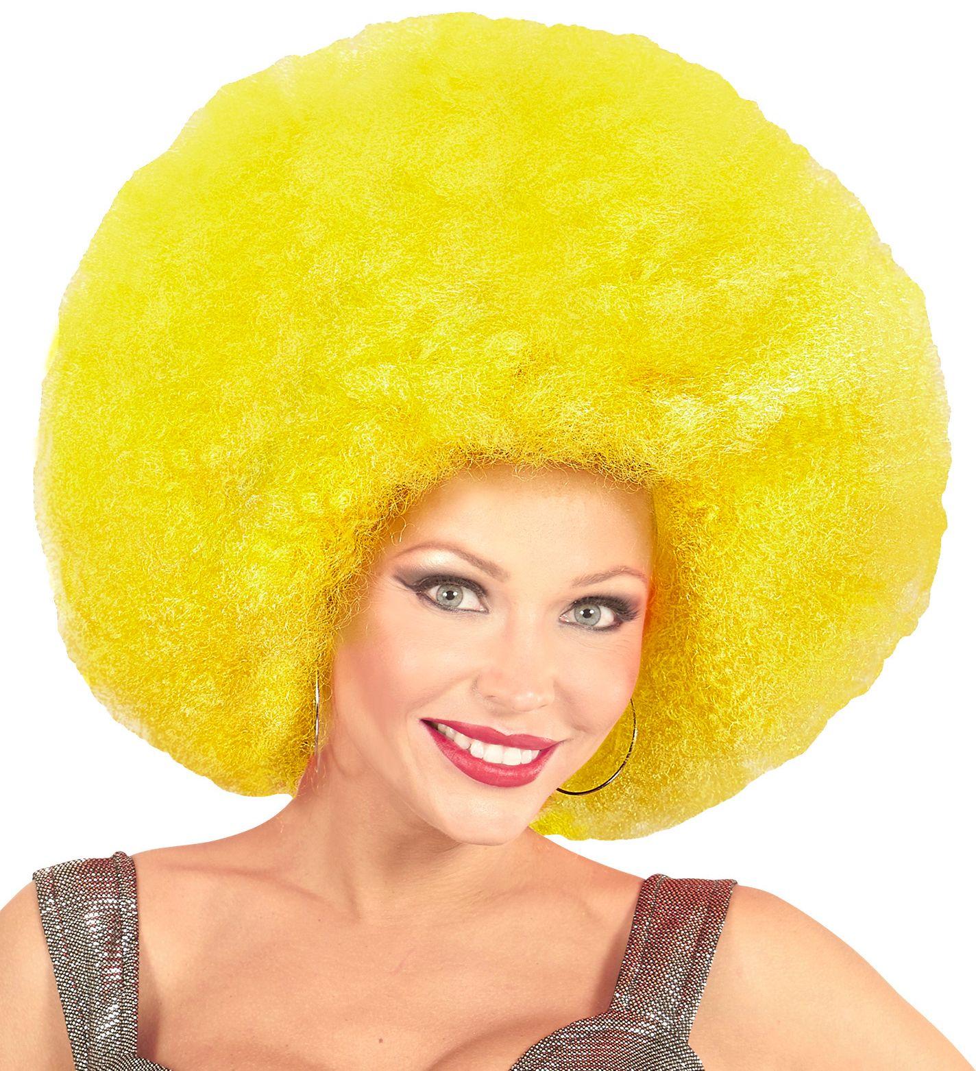 Gele maxi afro pruik