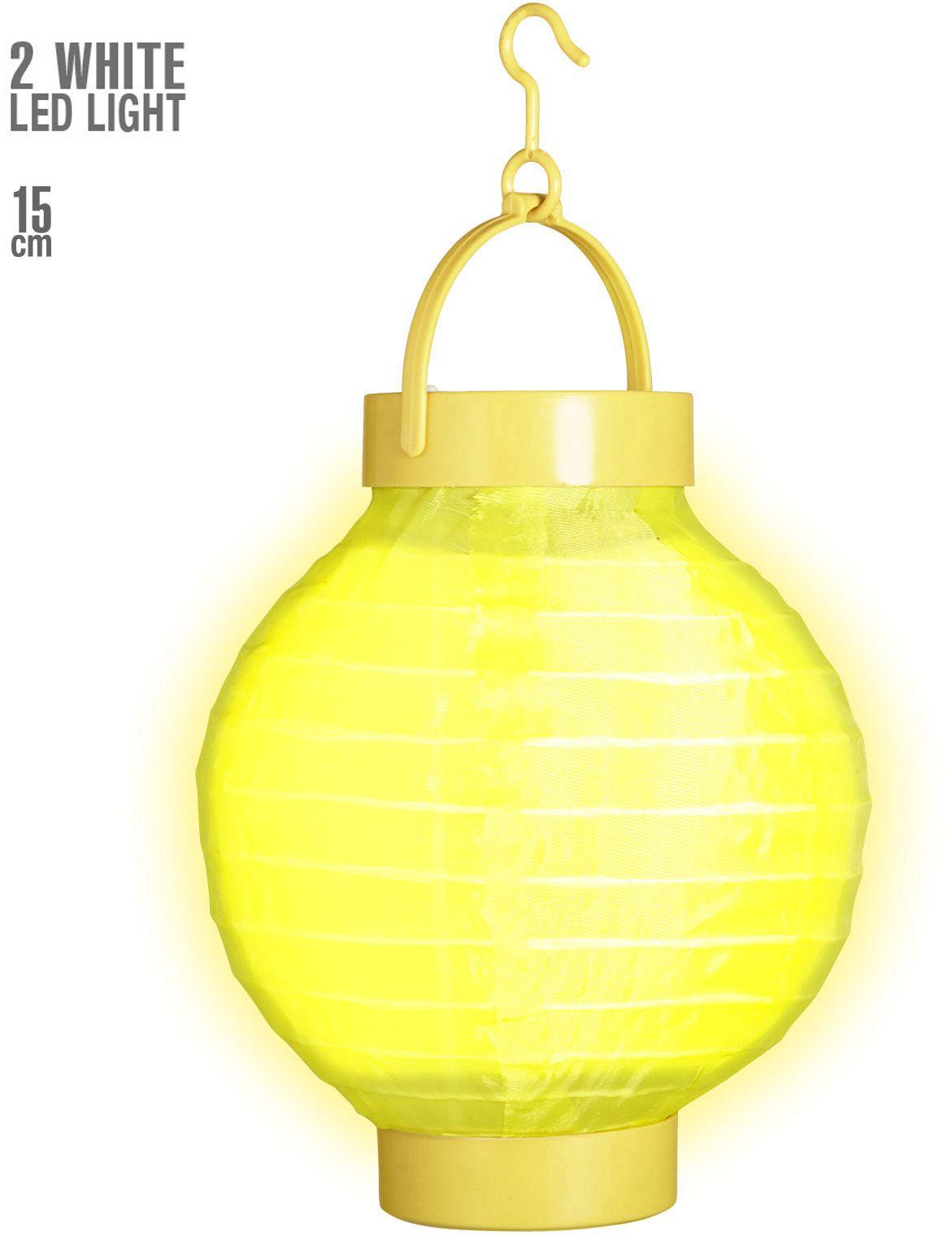 Gele stoffen lantaarn met 2 witte LED lichten