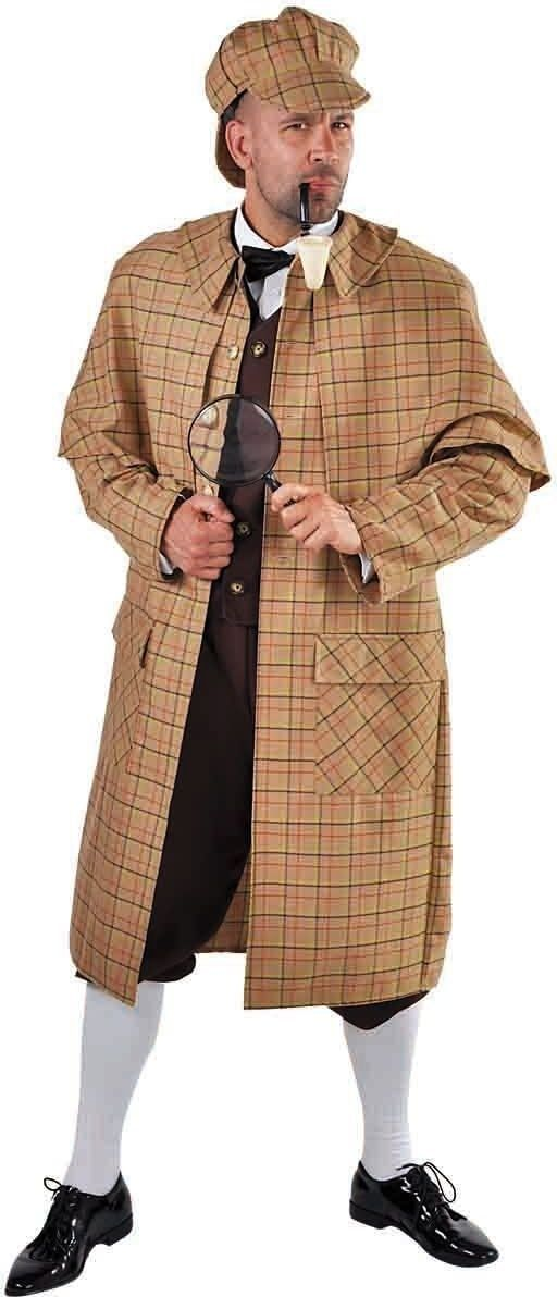 Geruit detective kostuum heren