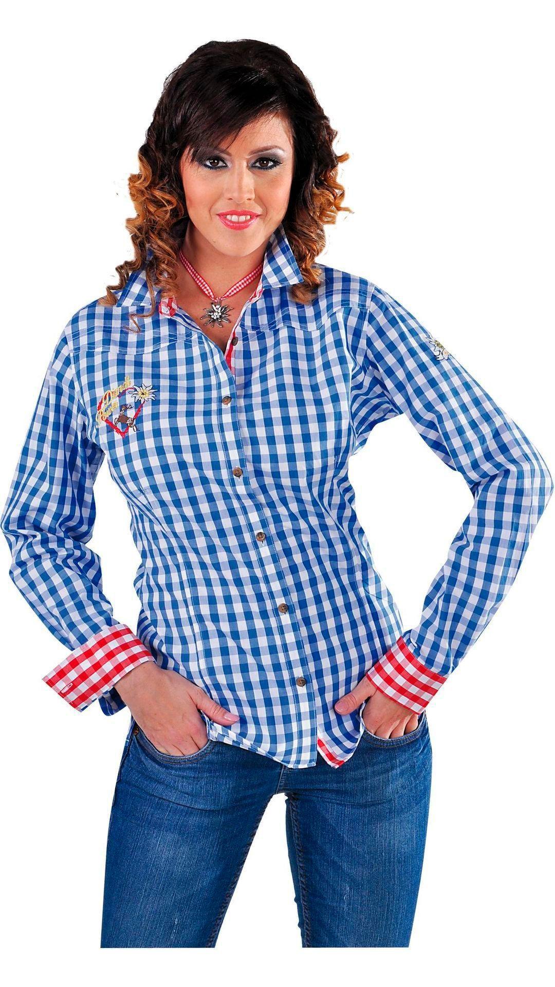 Geruit edelweiss blouse blauw dames