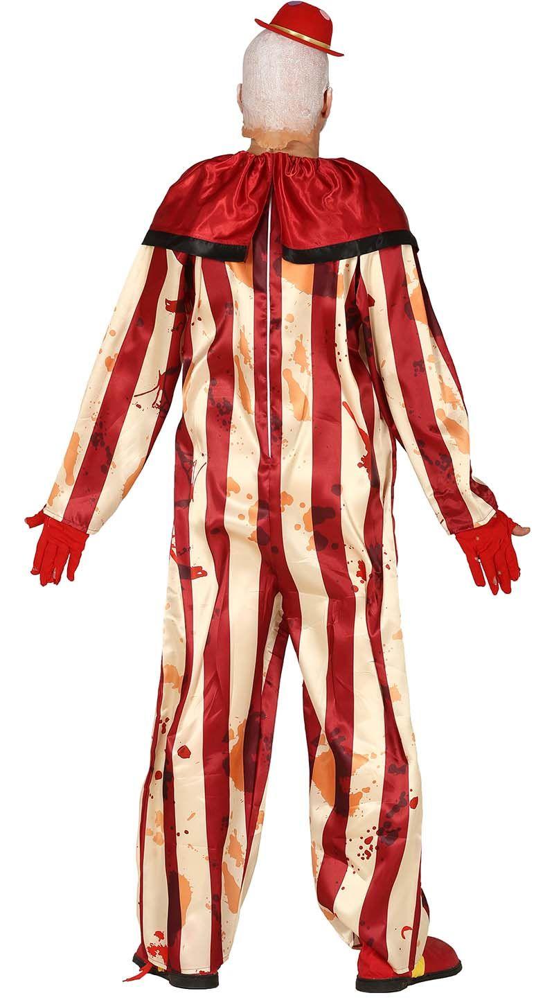 Gestreepte horrorclown kostuum