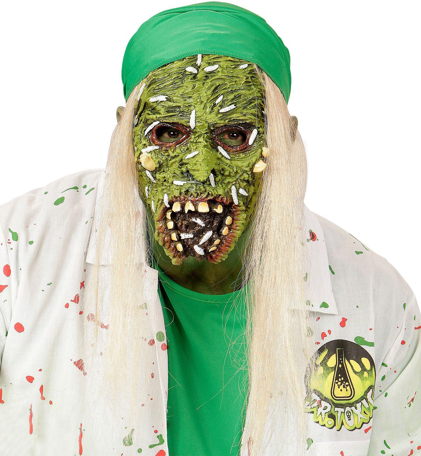 Giftige zombie masker met haar