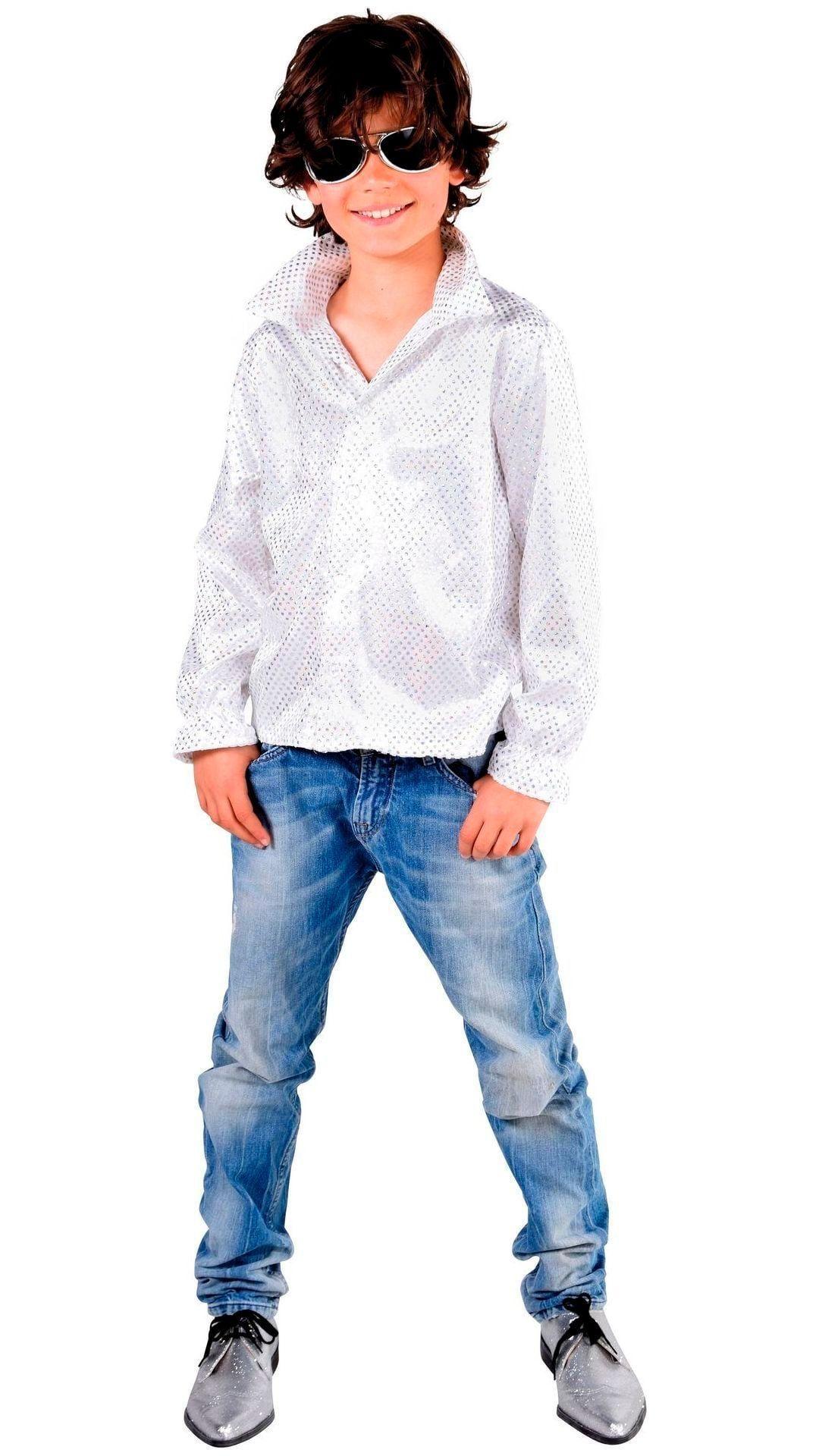 Glitter disco hemd wit jongens
