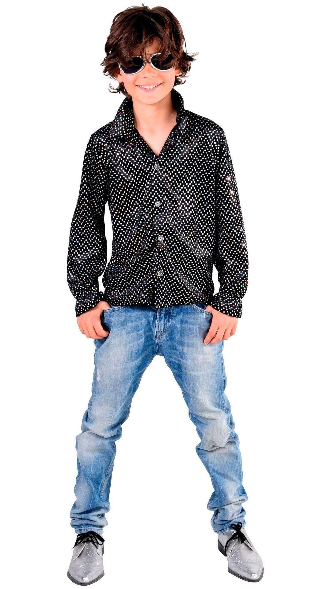 Glitter disco hemd zwart jongens