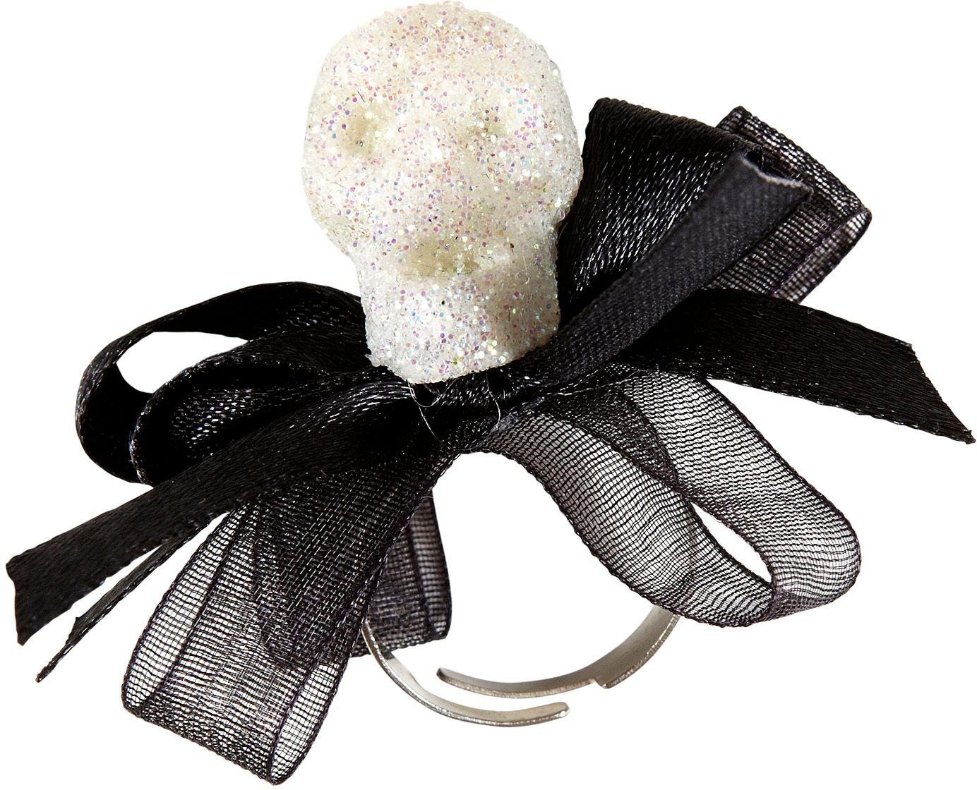 Glitter schedel ring met strikje
