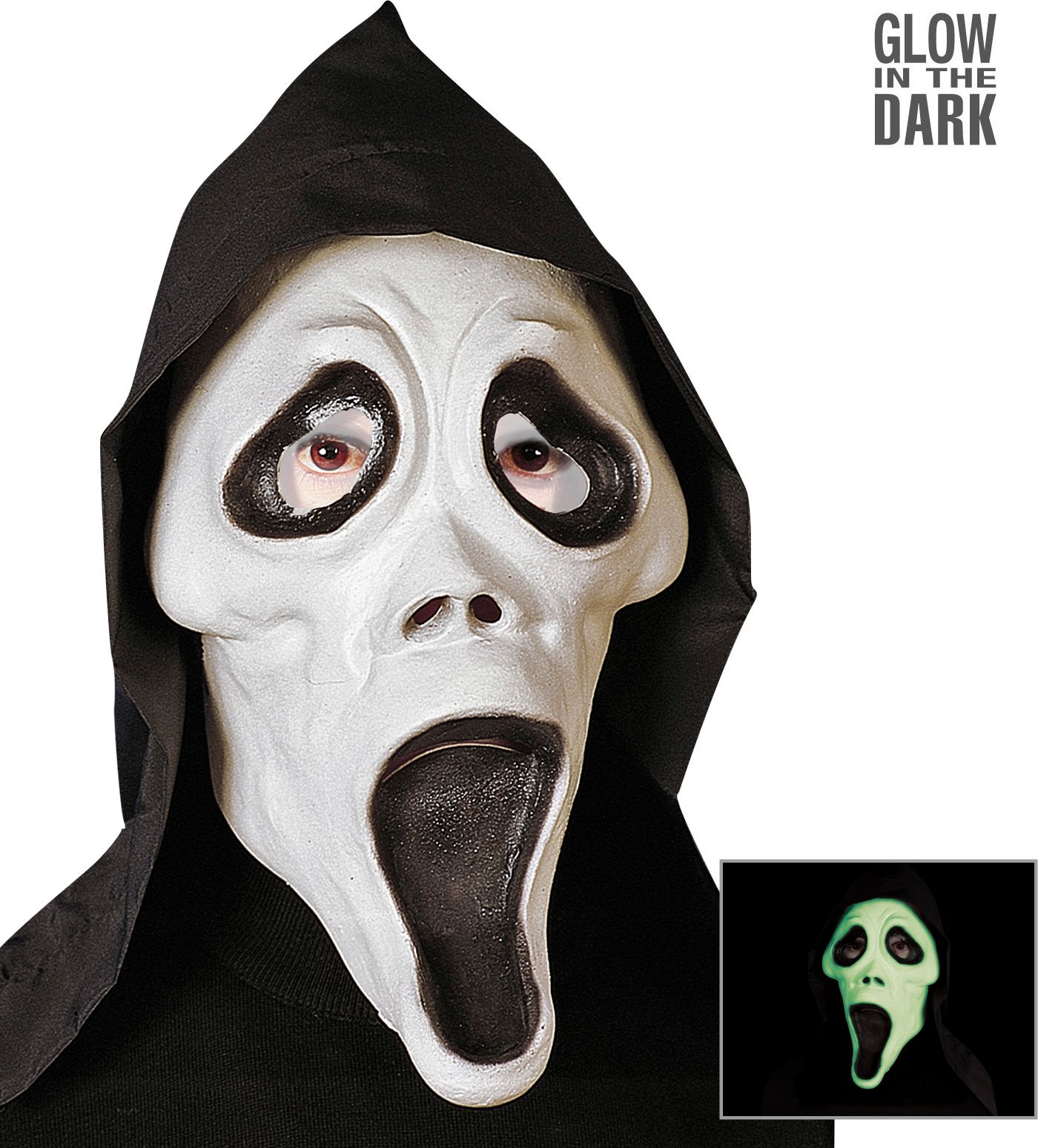 Glow in the dark scream masker