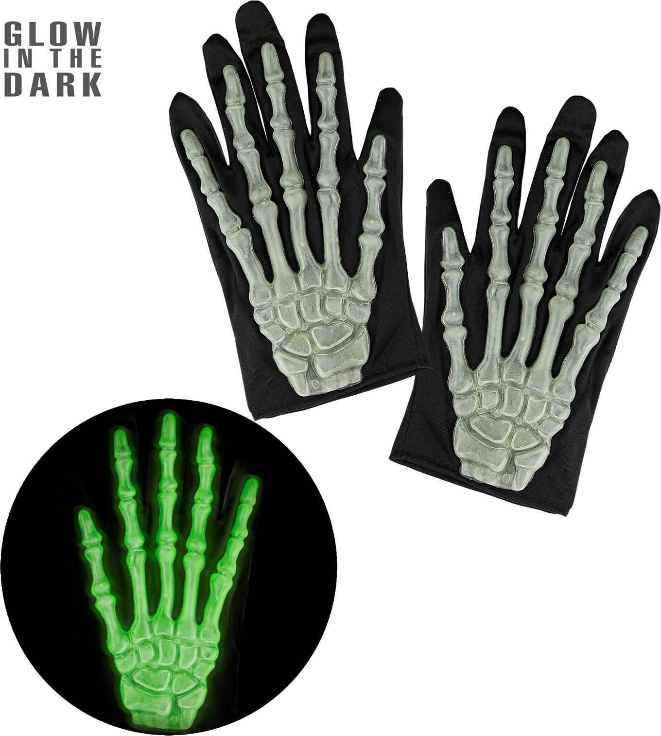 Glow in the dark skelet handschoenen