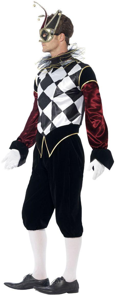 Gothic venetiaanse harlequin kostuum heren