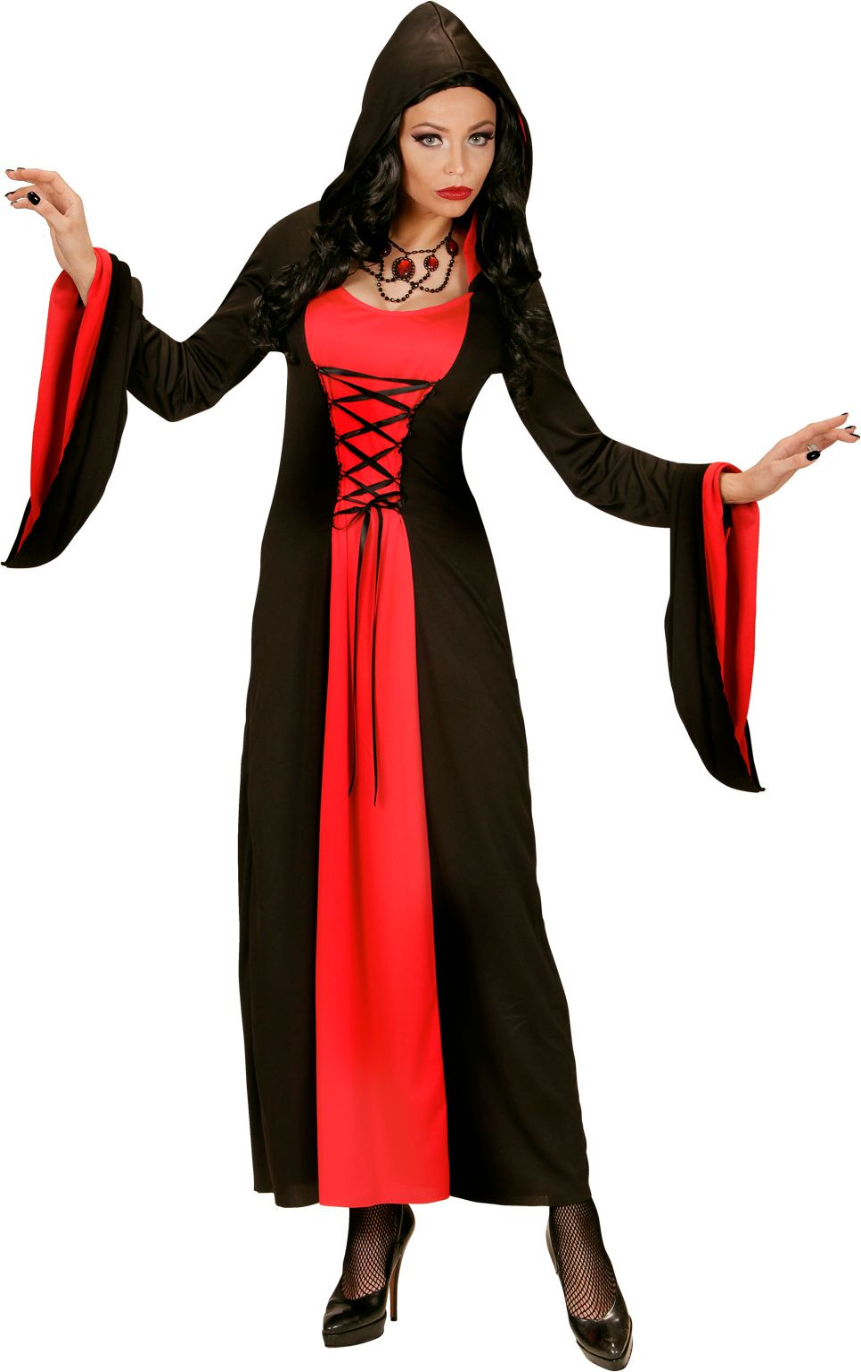 Gotische zwart rode jurk