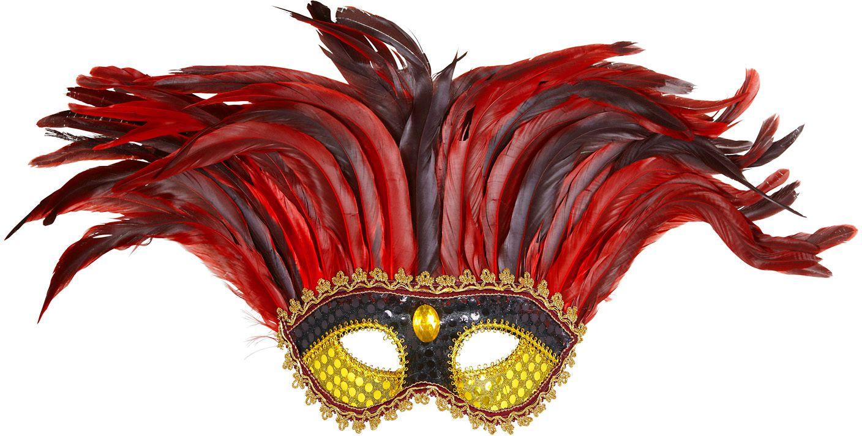 Goud zwart maya oogmasker met rode veren