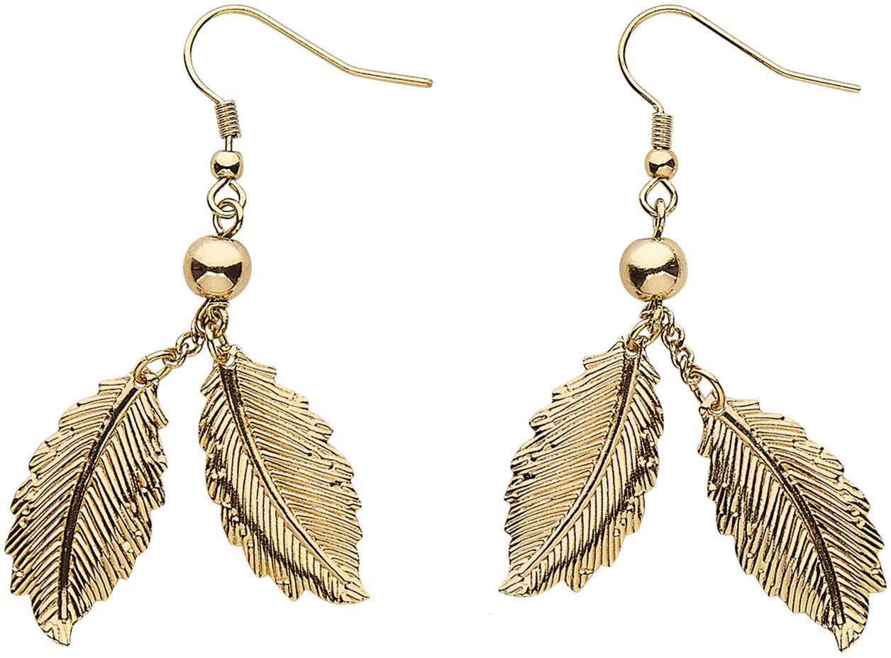 Gouden blaadjes oorbellen