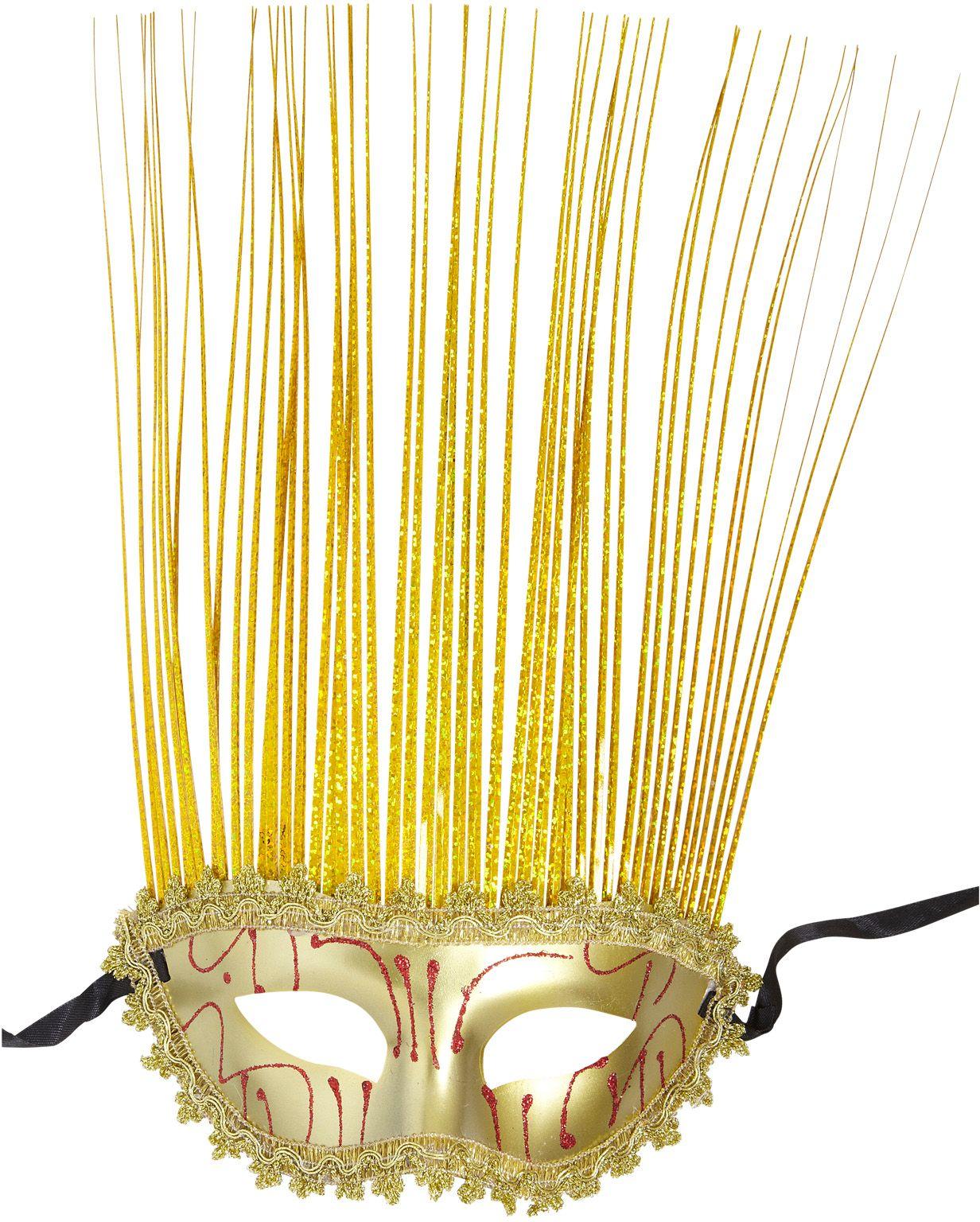Gouden carnival oogmasker met kuif