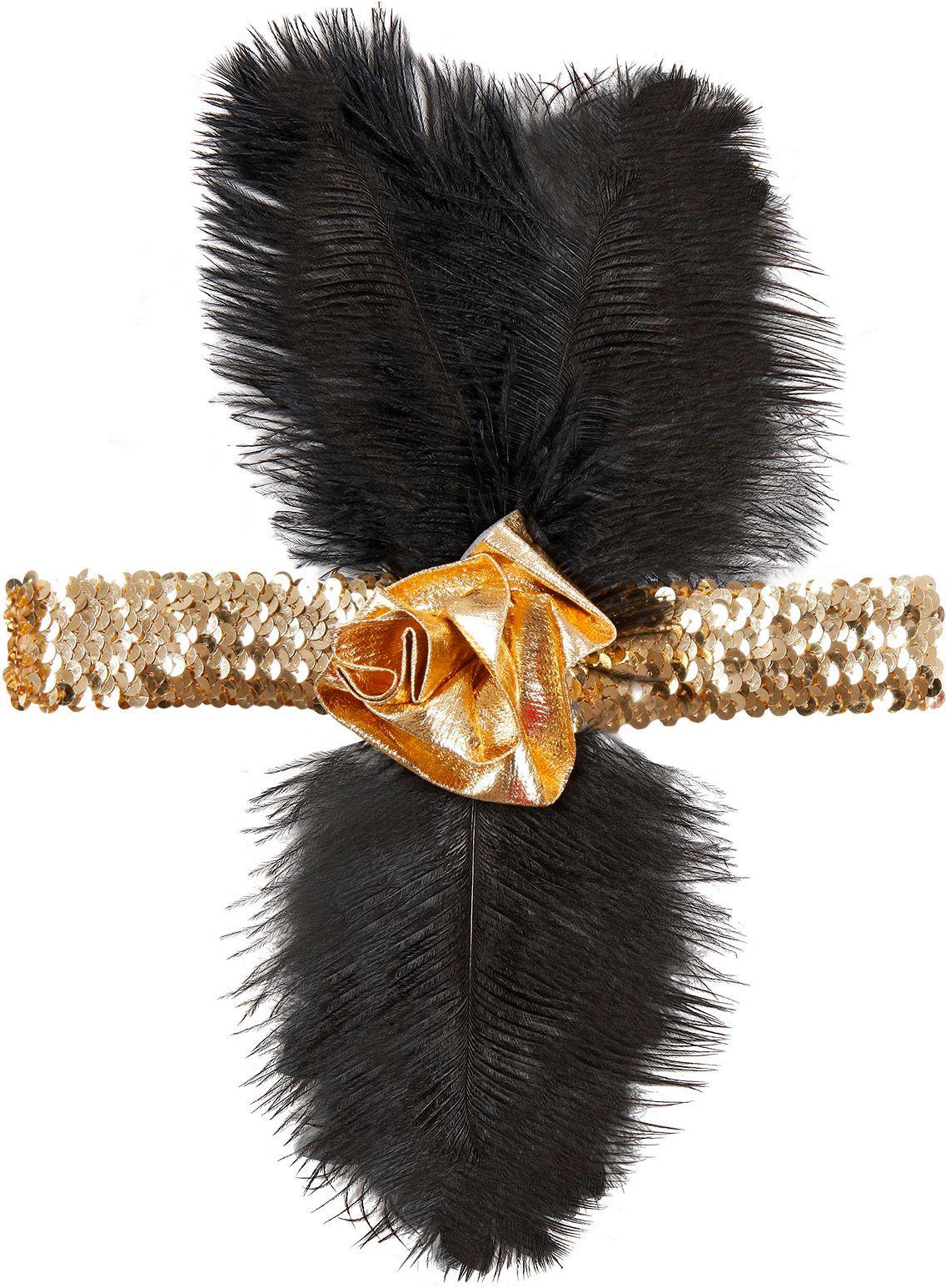 Gouden charleston hoofdband met bloem en veren