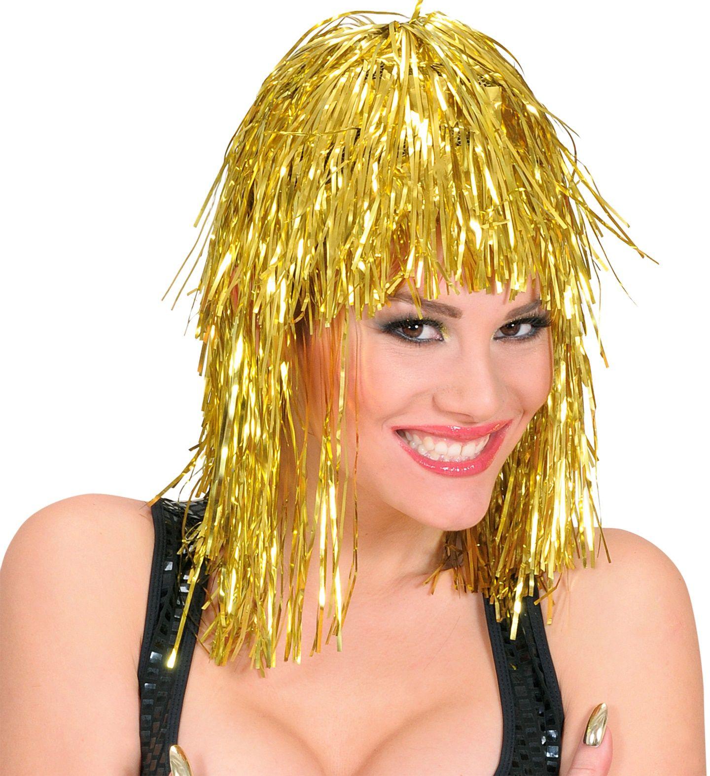 Gouden disco pruik
