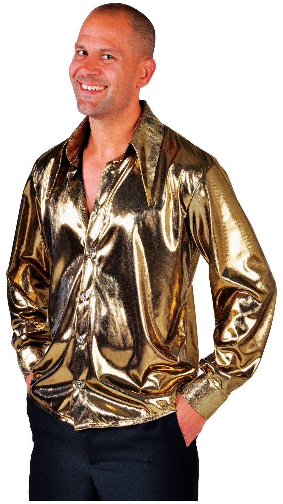 Gouden discoblouse heren