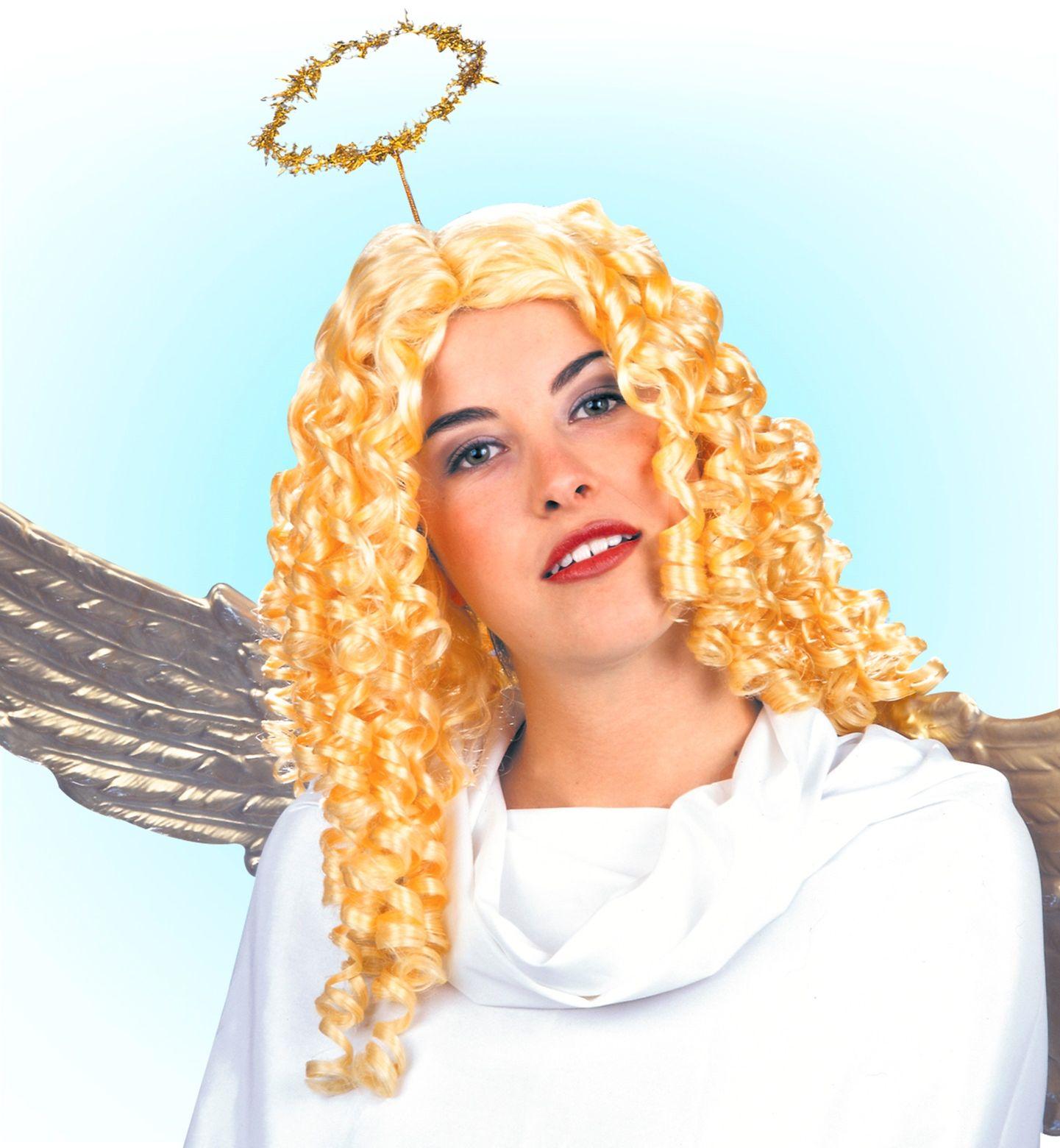 Gouden engel pruik met krullen