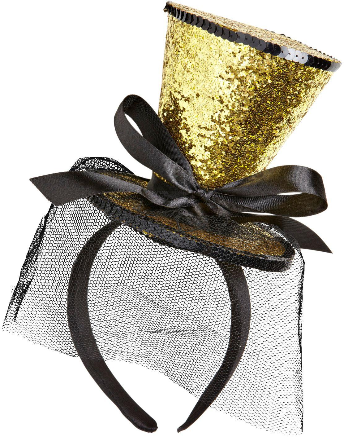 Gouden glitter mini hoge hoed