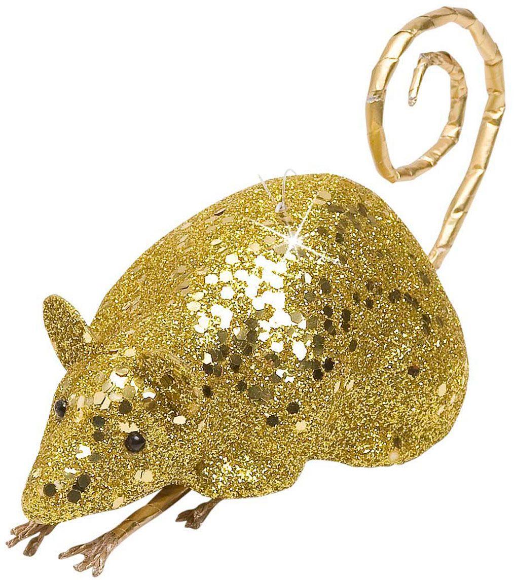 Gouden glitter muis decoratie