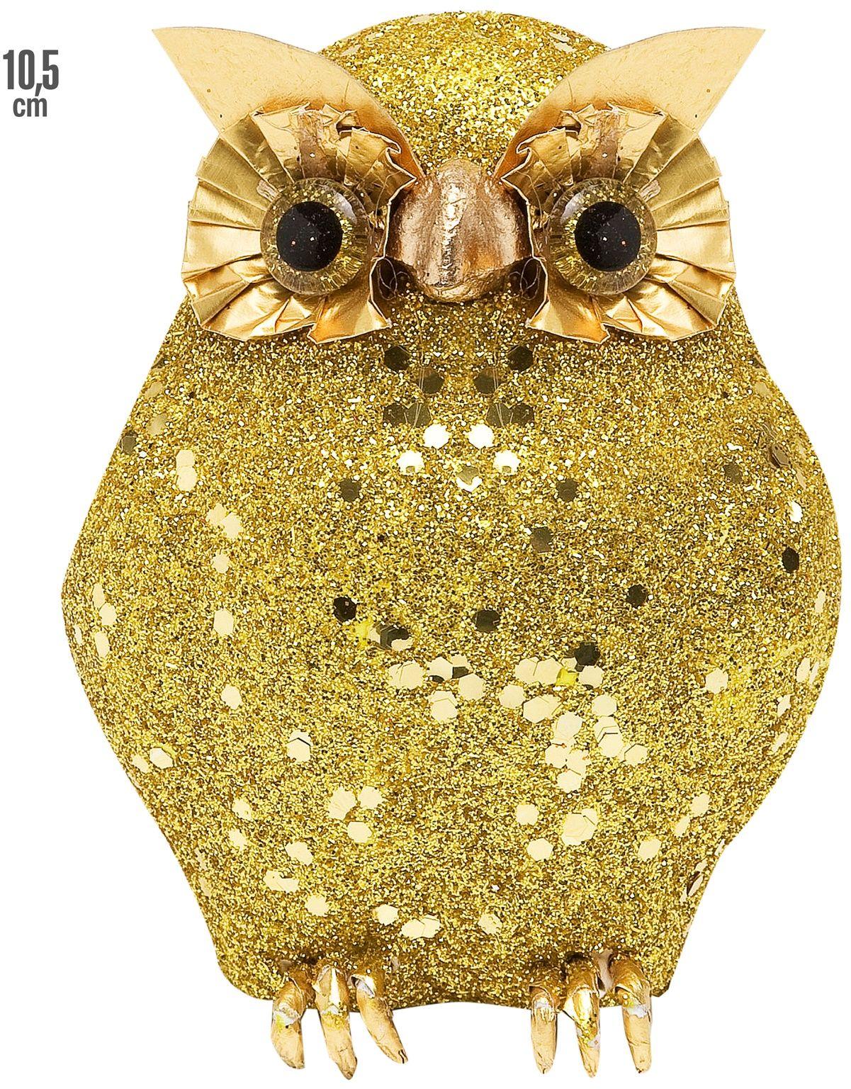 Gouden glitter uil