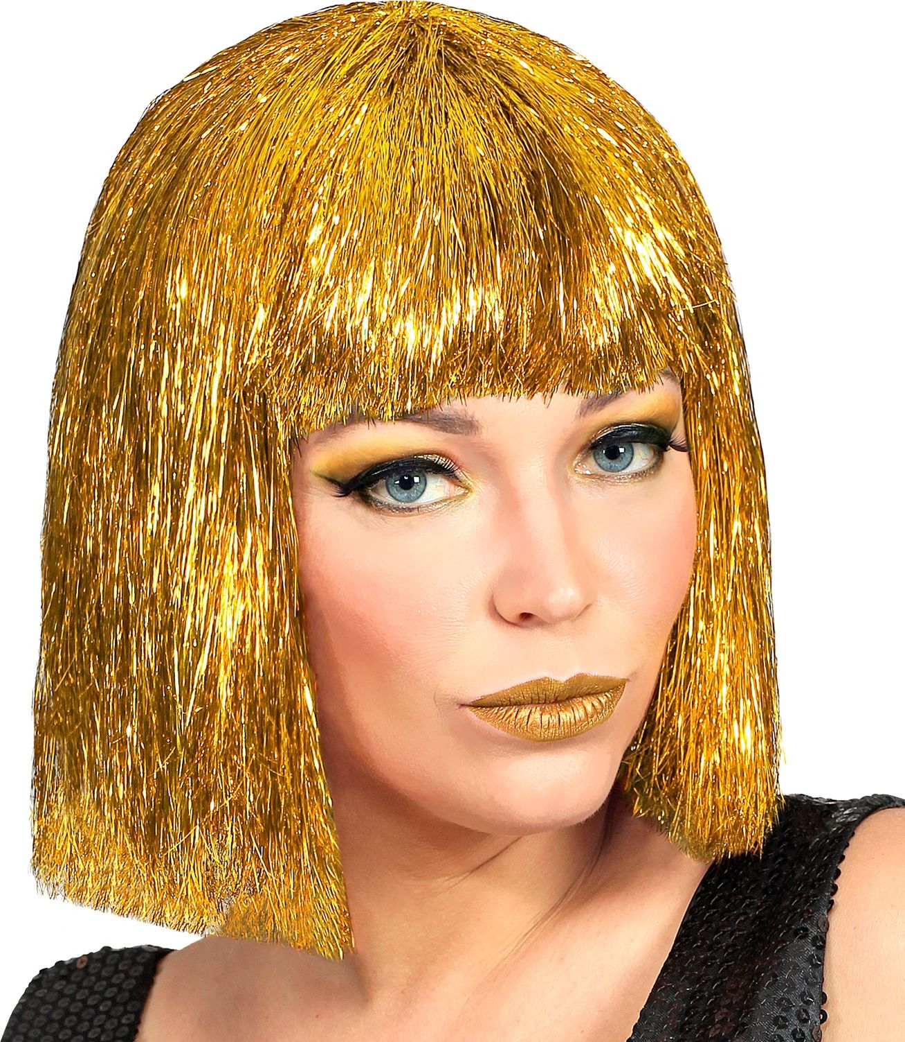 Gouden glitters Vegas pruik