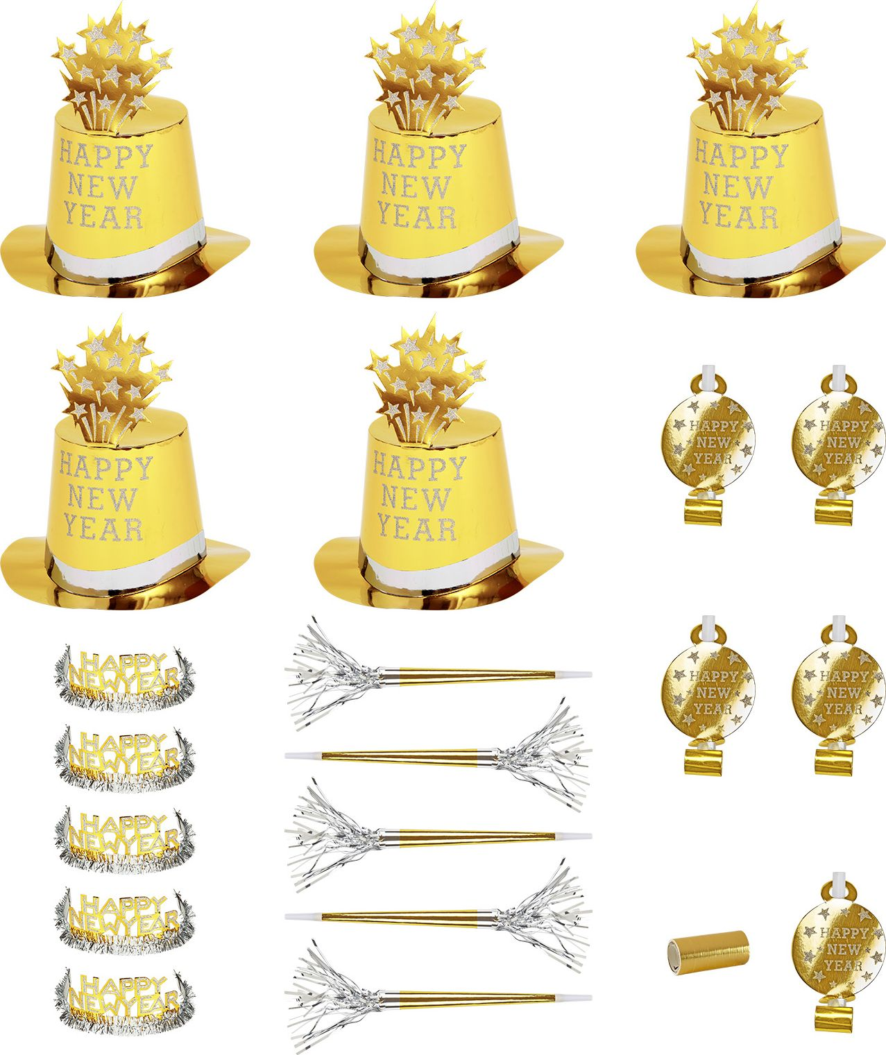 Gouden Happy New Year set 10 personen