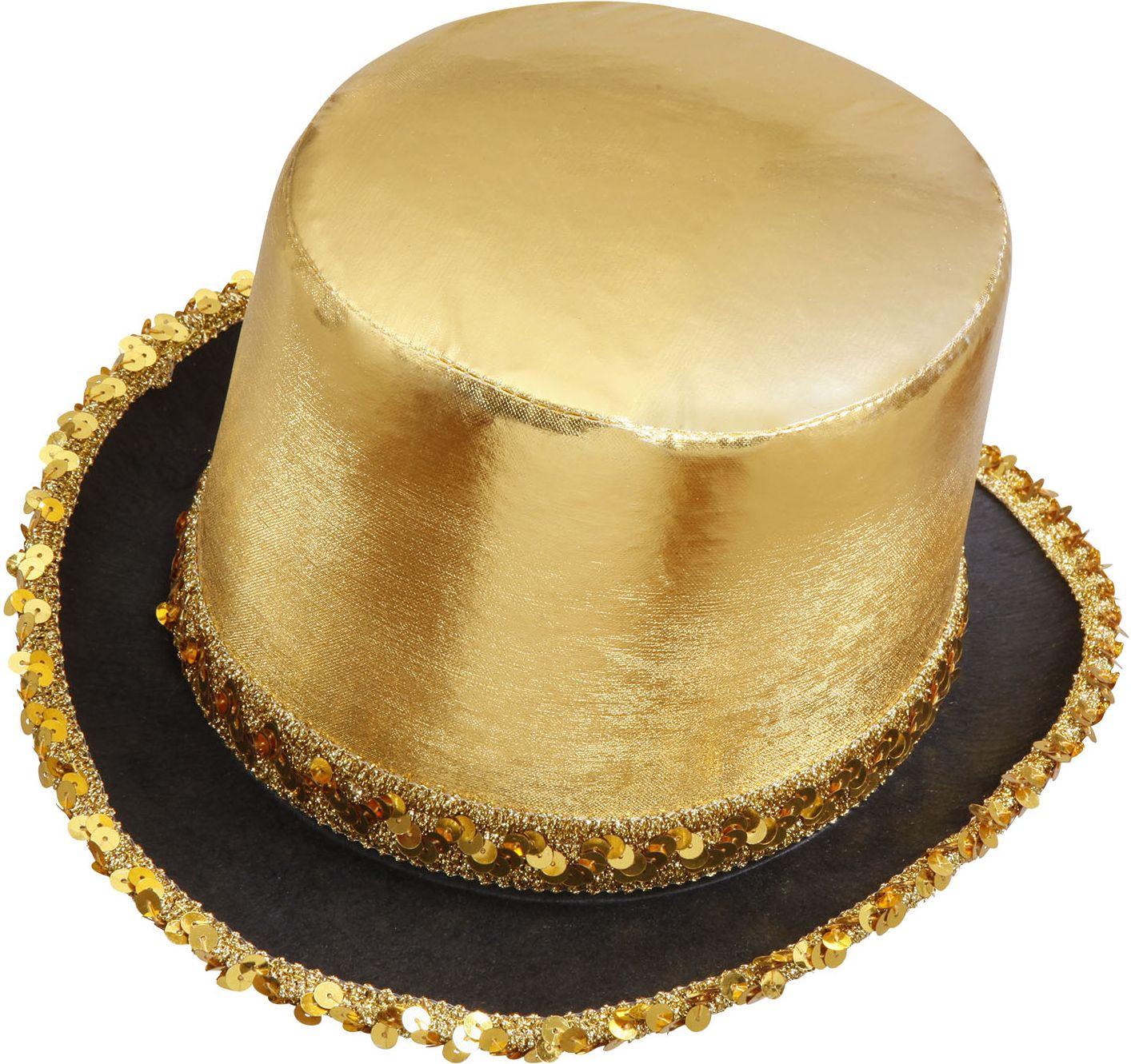 Gouden hoge hoed met pailletten rand