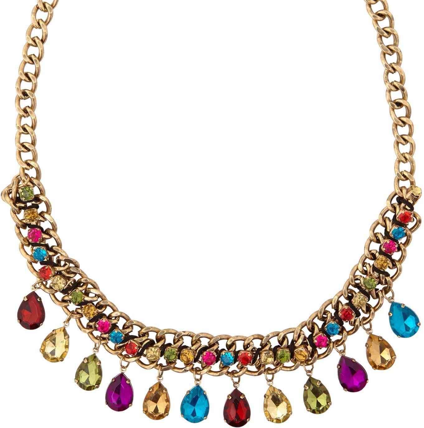 Gouden ketting met gekleurde juwelen