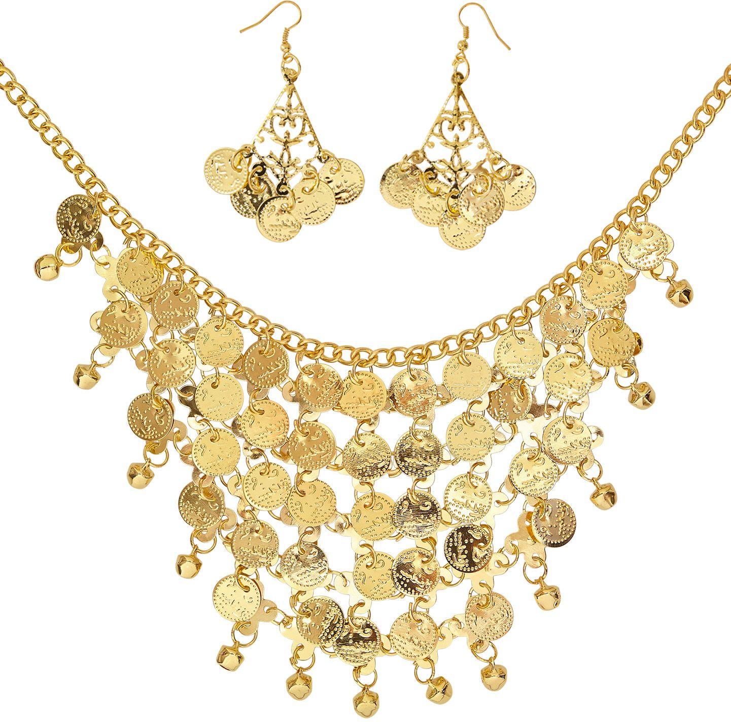 Gouden ketting met oorbellen en muntjes