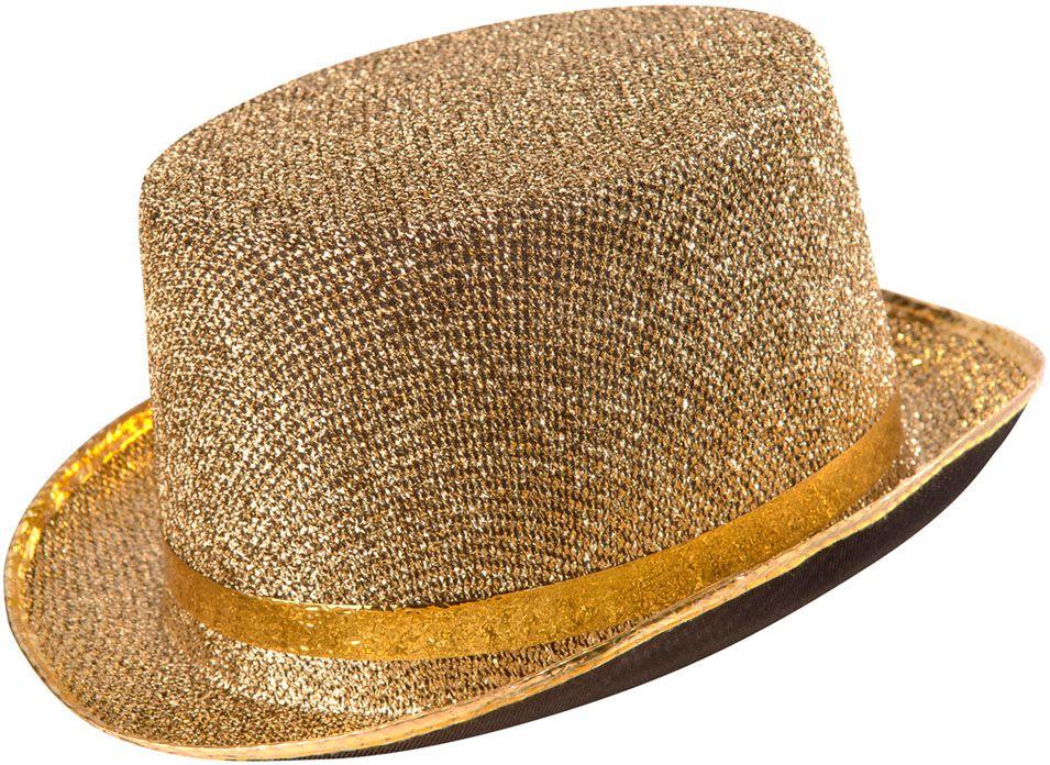 Gouden lurex hoge hoed