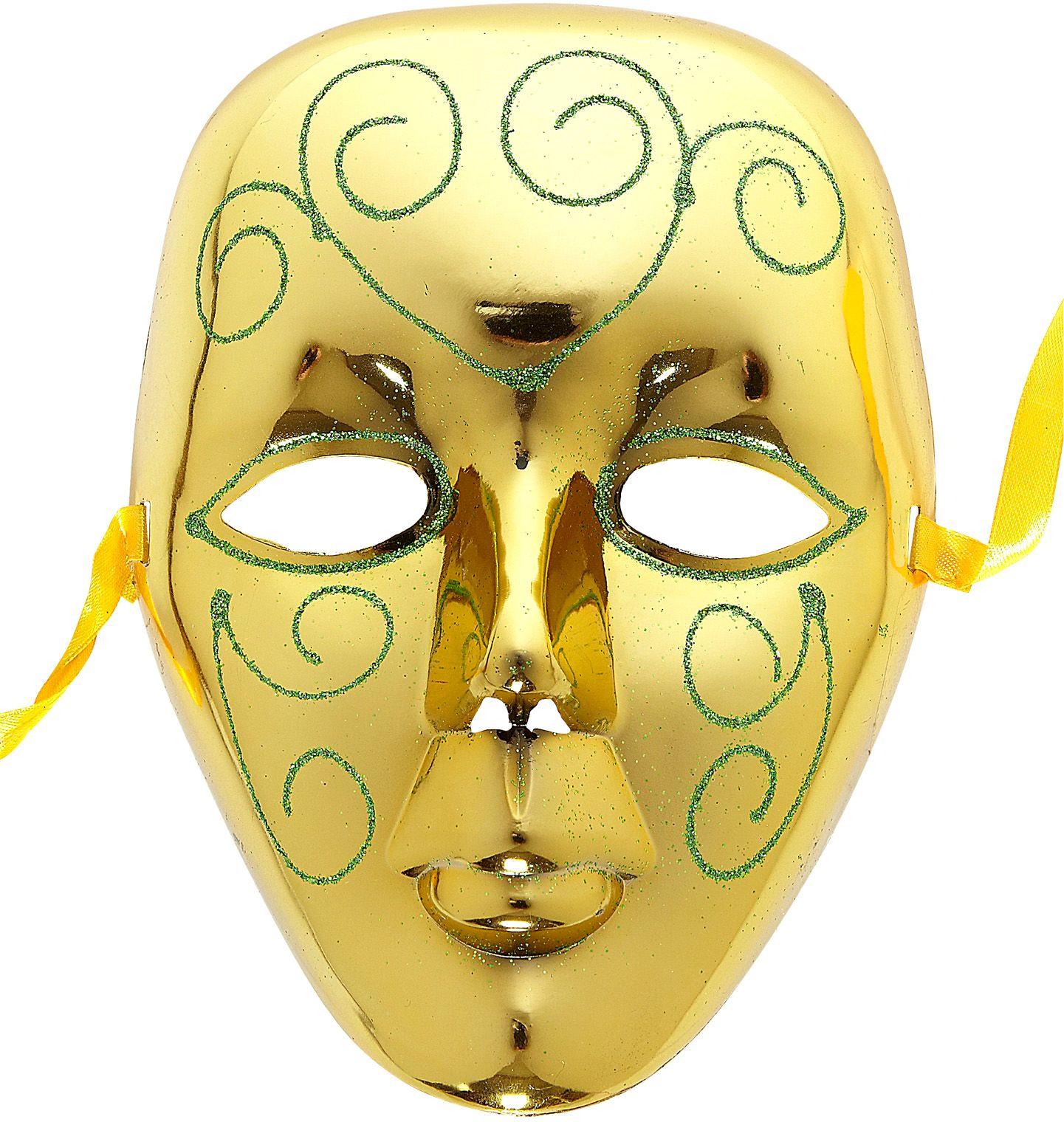 Gouden masker met groene glitters