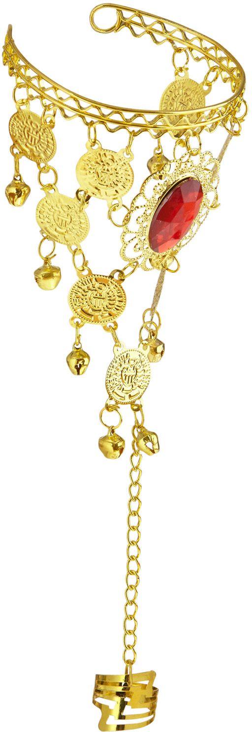 Gouden muntjes vingerhandschoen met juweel