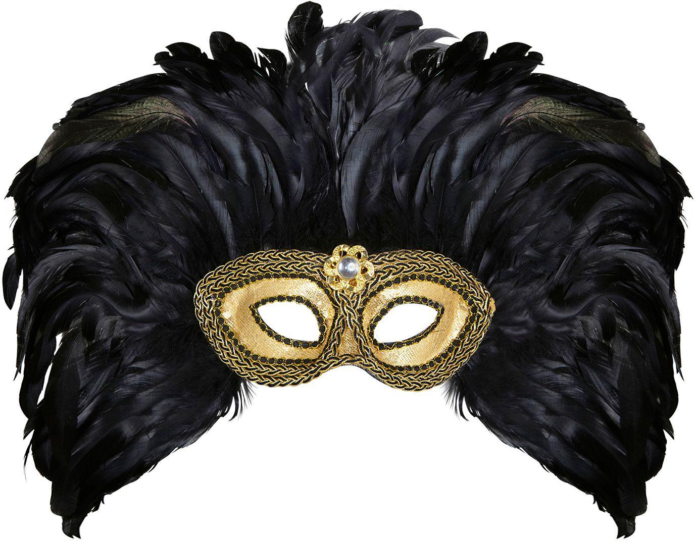 Gouden oogmasker met zwarte veren