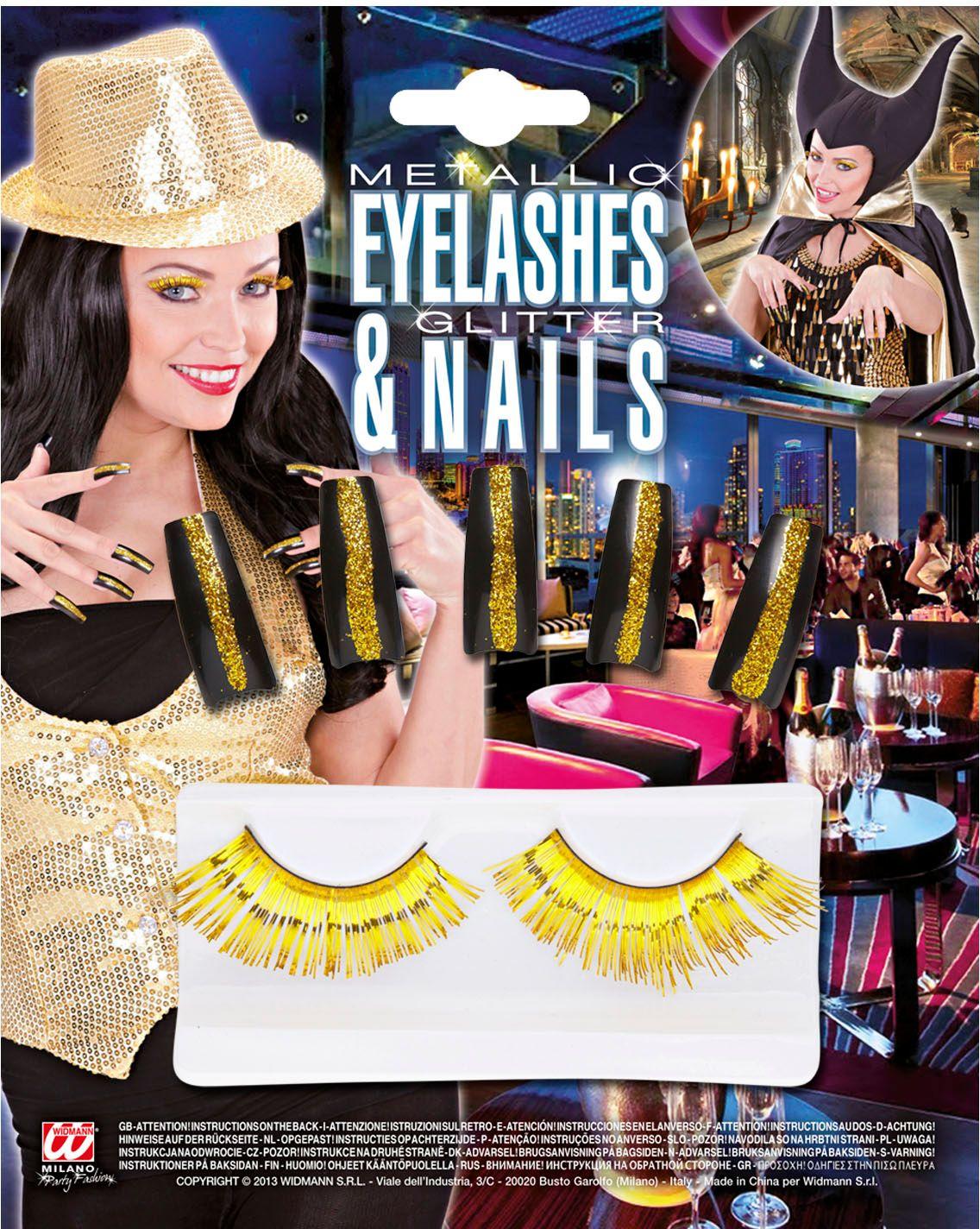 Gouden oogwimpers met glitternagels