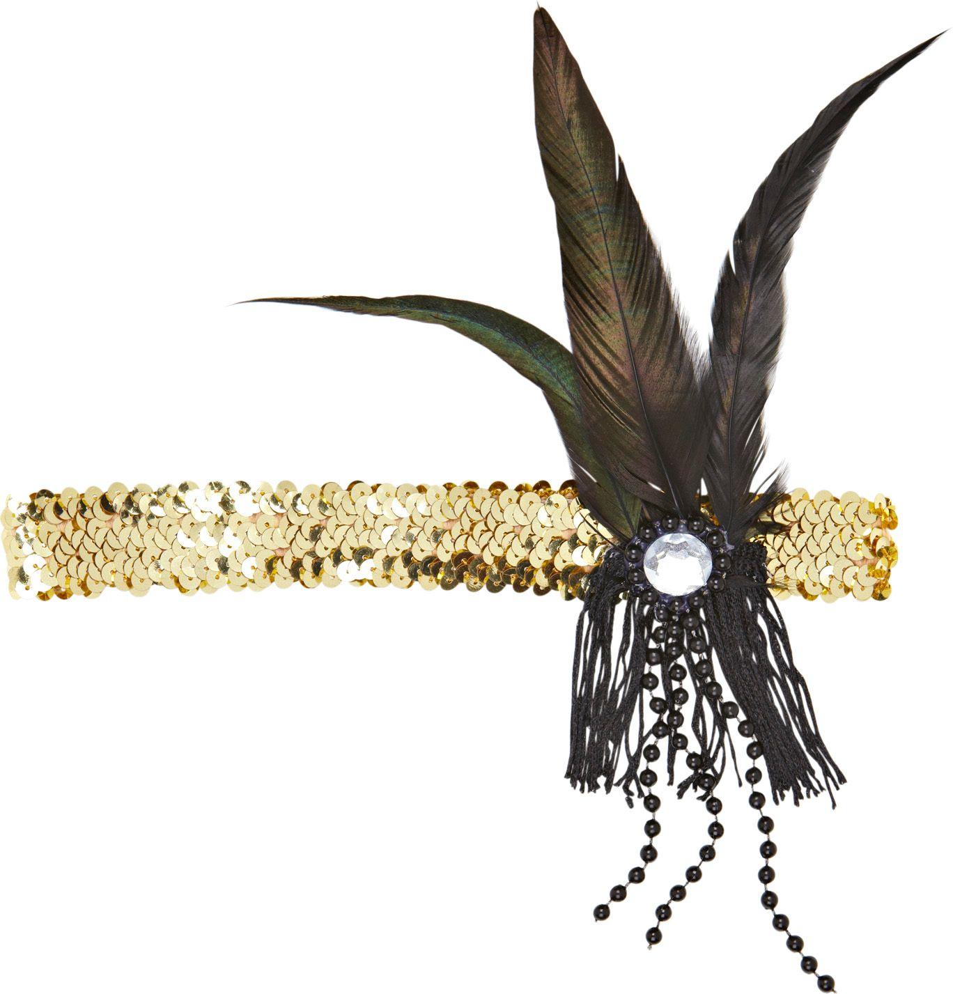 Gouden pailletten charleston hoofdband